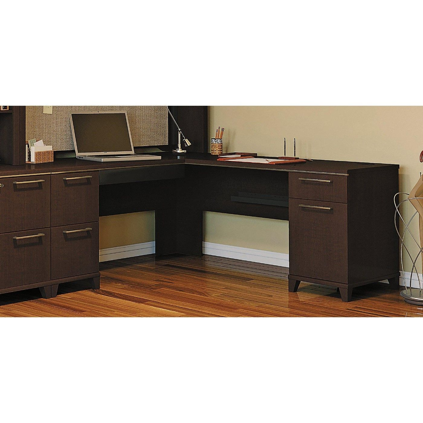 BUSH BUSINESS FURNITURE ENTERPRISE MOCHA CHERRY 72W x 72D L-SHAPED DESK #EH-2910MC-03K. FREE SHIPPING: