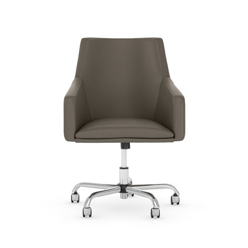 BUSH BUSINESS FURNITURE LONDON MID BACK LEATHER BOX CHAIR. FREE SHIPPING 30H x 72L x 72W  VIDEO BELOW. - <font color=red><b>OUT OF STOCK</b></font>