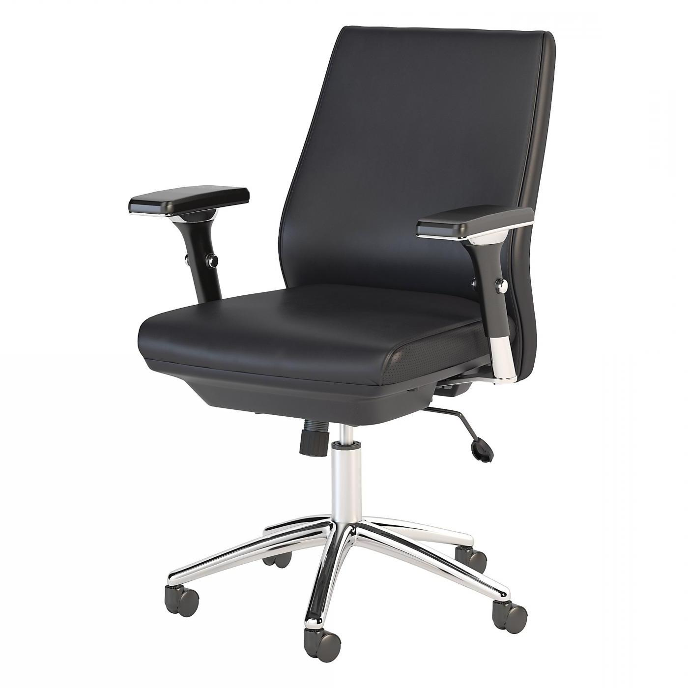 BUSH BUSINESS FURNITURE METROPOLIS MID BACK LEATHER EXECUTIVE OFFICE CHAIR. FREE SHIPPING.