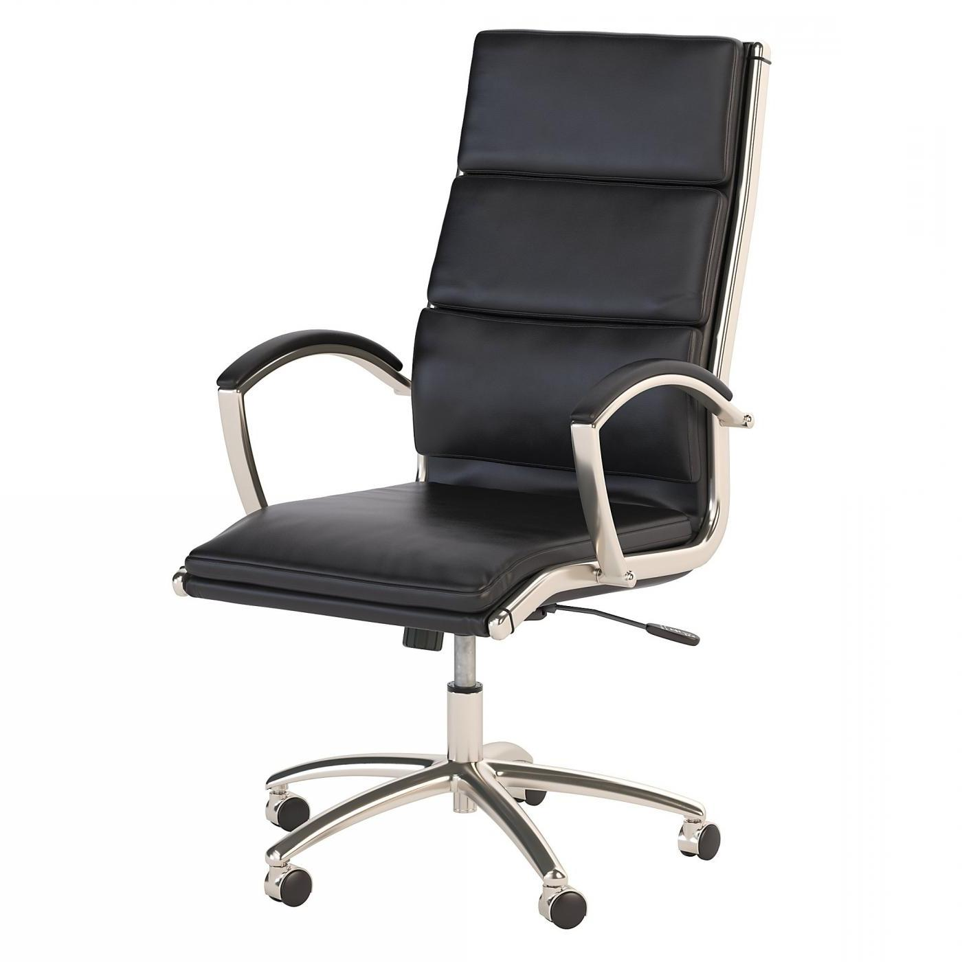 BUSH BUSINESS FURNITURE MODELO HIGH BACK LEATHER EXECUTIVE OFFICE CHAIR #EH-CH1701BLL-03. FREE SHIPPING:
