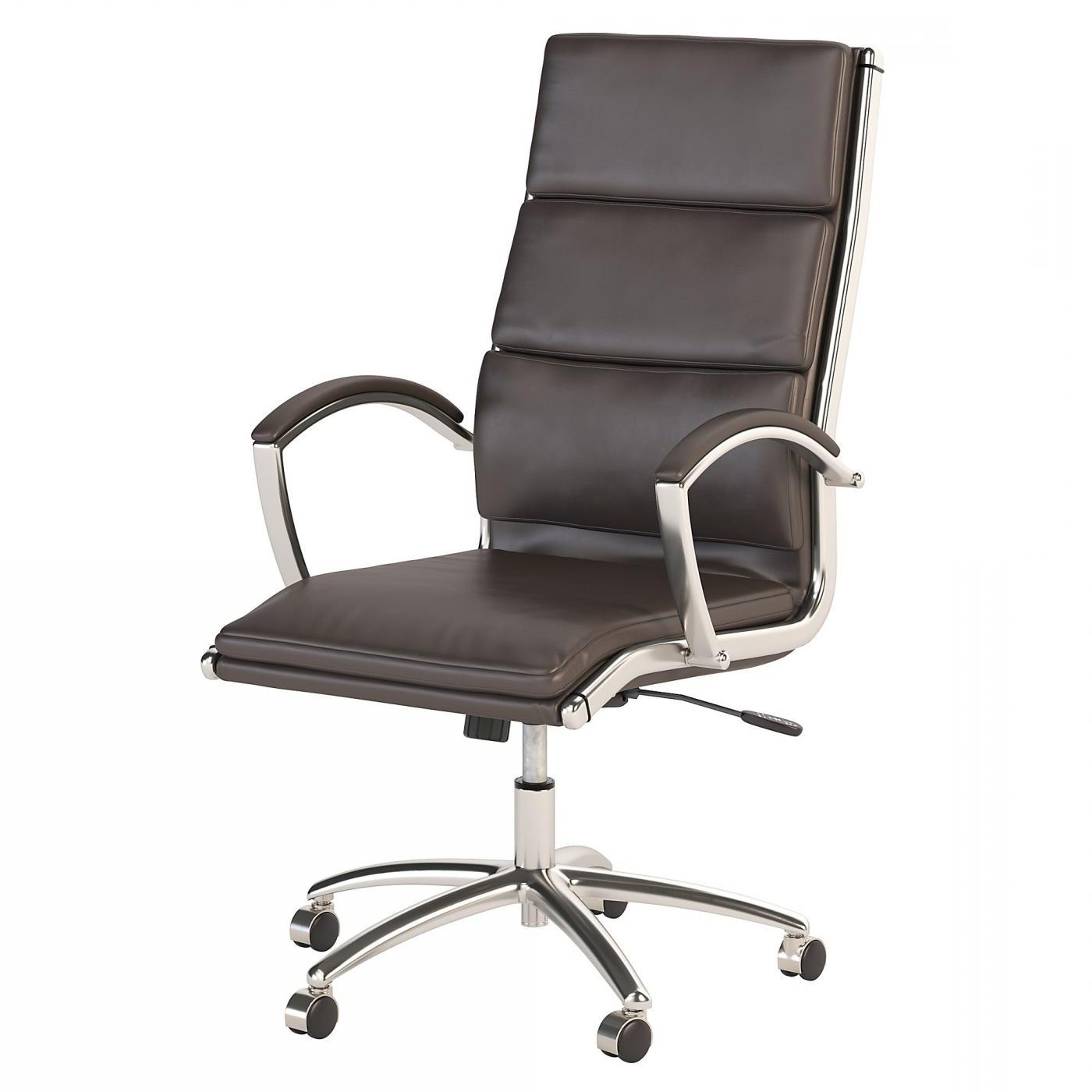 BUSH BUSINESS FURNITURE MODELO HIGH BACK LEATHER EXECUTIVE OFFICE CHAIR #EH-CH1701DBL-03. FREE SHIPPING:
