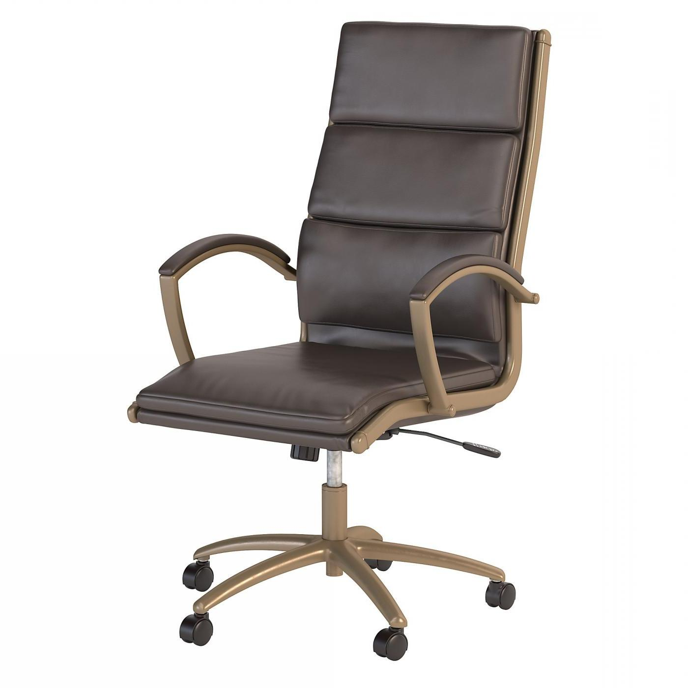 BUSH BUSINESS FURNITURE MODELO HIGH BACK LEATHER EXECUTIVE OFFICE CHAIR #EH-CH1701LBL-03. FREE SHIPPING: