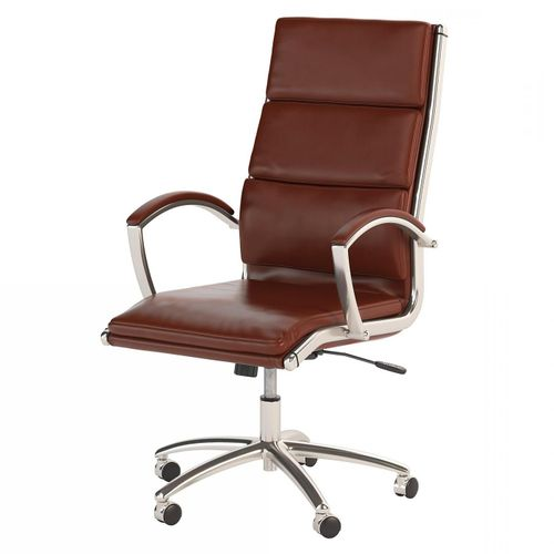 BUSH BUSINESS FURNITURE MODELO HIGH BACK LEATHER EXECUTIVE OFFICE CHAIR #EH-CH1701CSL-03. FREE SHIPPING: