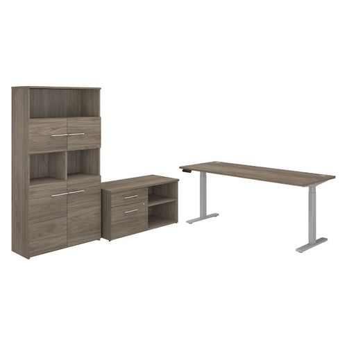 BUSH BUSINESS FURNITURE OFFICE 500 72W HEIGHT ADJUSTABLE STANDING DESK WITH STORAGE AND BOOKCASE. FREE SHIPPING