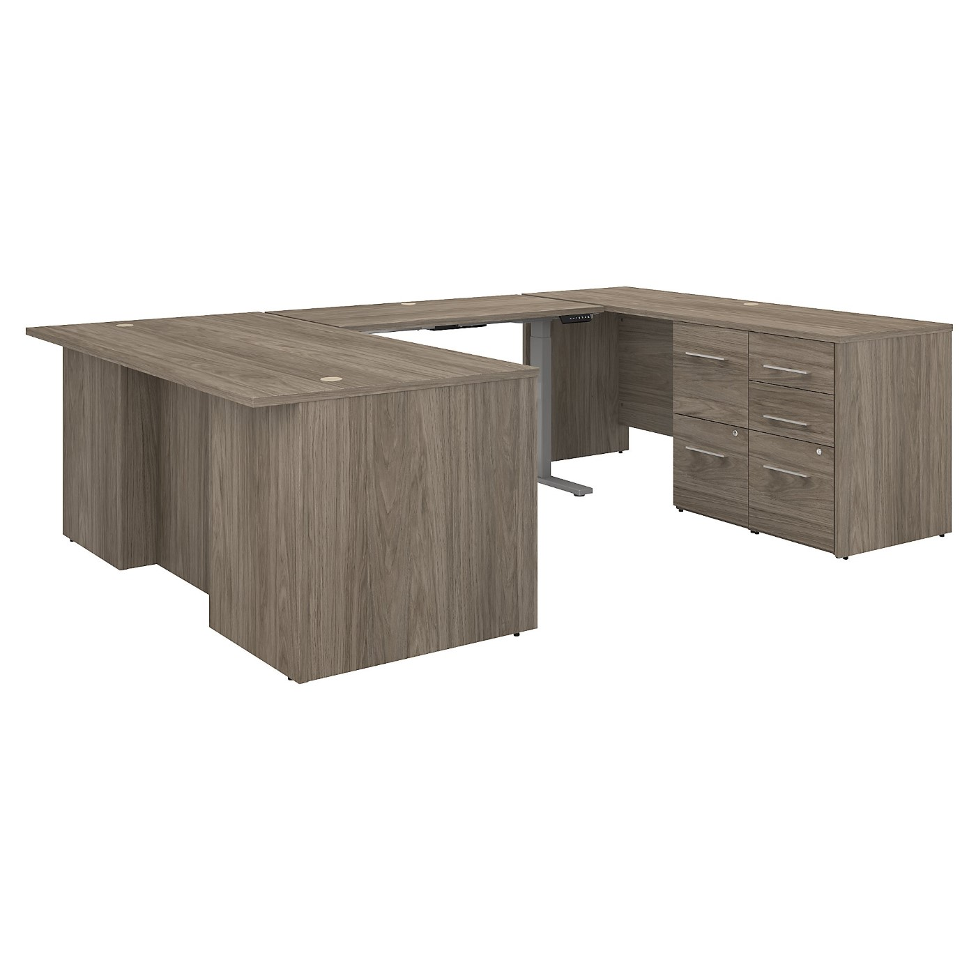 BUSH BUSINESS FURNITURE OFFICE 500 72W HEIGHT ADJUSTABLE U SHAPED EXECUTIVE DESK WITH DRAWERS. FREE SHIPPING SALE DEDUCT 10% MORE ENTER '10percent' IN COUPON CODE BOX WHILE CHECKING OUT.