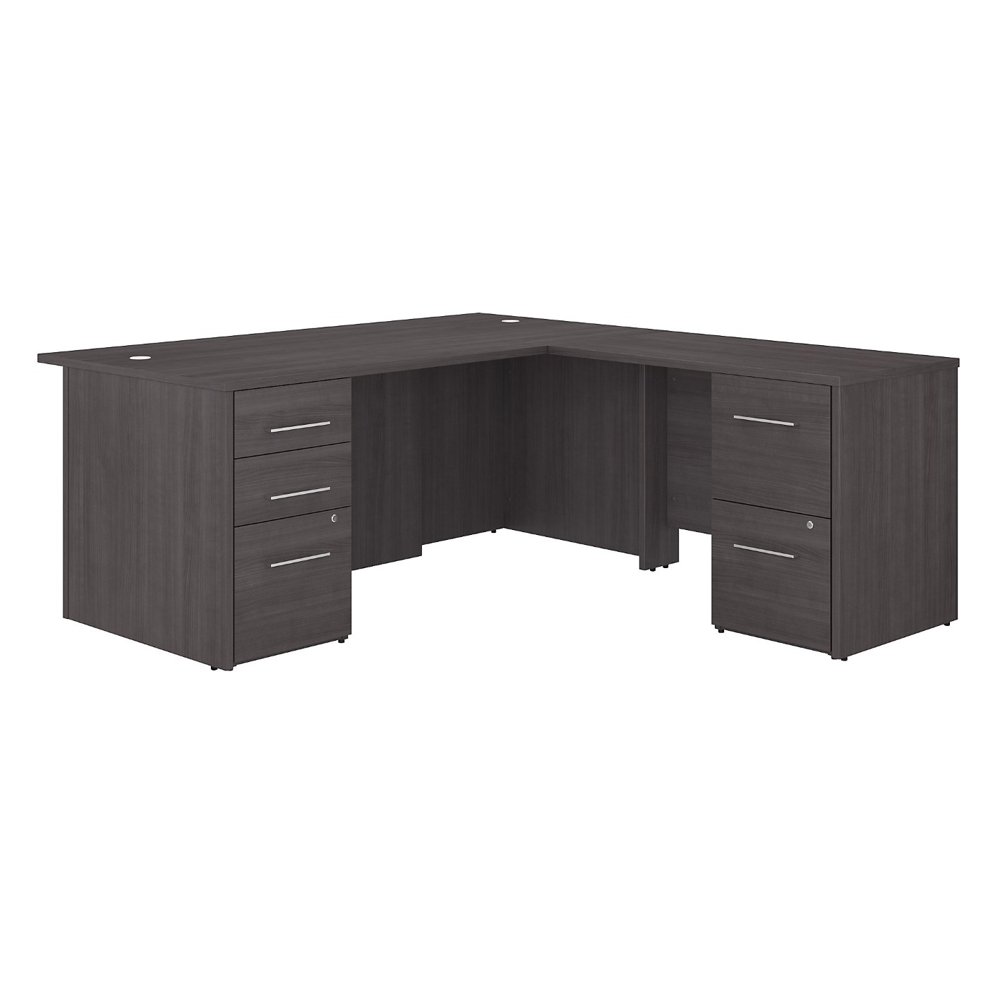 BUSH BUSINESS FURNITURE OFFICE 500 72W L SHAPED EXECUTIVE DESK WITH DRAWERS. FREE SHIPPING