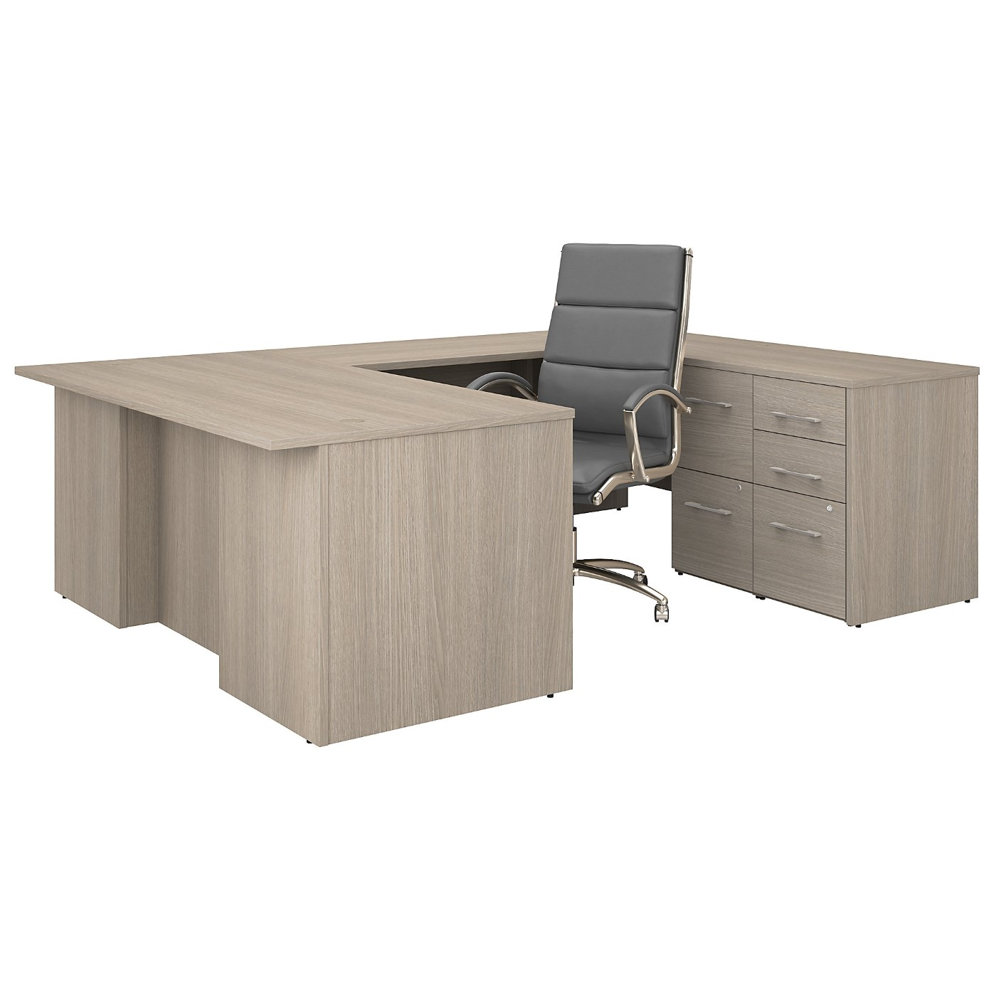 BUSH BUSINESS FURNITURE OFFICE 500 72W U SHAPED EXECUTIVE DESK WITH DRAWERS AND HIGH BACK CHAIR SET. FREE SHIPPING
