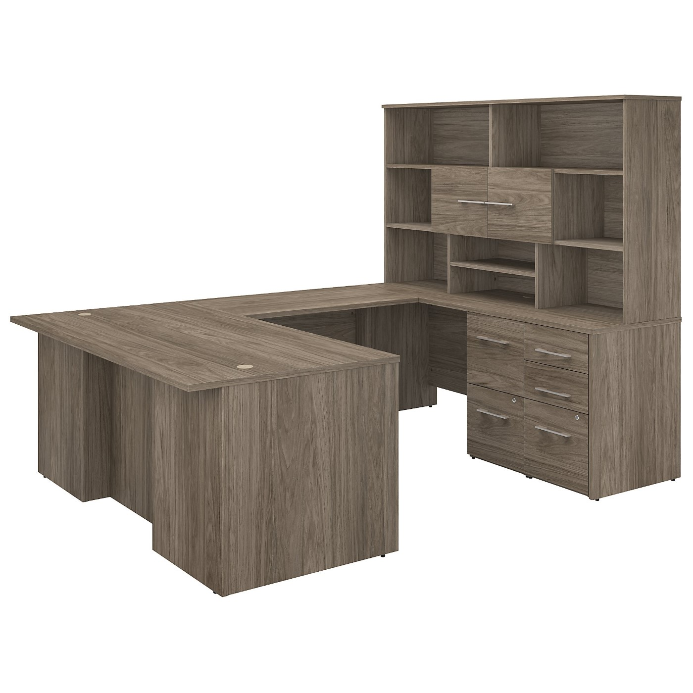 BUSH BUSINESS FURNITURE OFFICE 500 72W U SHAPED EXECUTIVE DESK WITH DRAWERS AND HUTCH. FREE SHIPPING