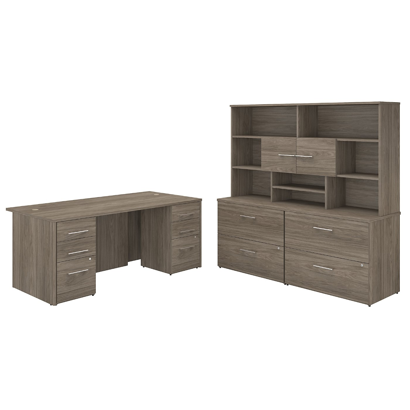 BUSH BUSINESS FURNITURE OFFICE 500 72W X 36D EXECUTIVE DESK WITH DRAWERS, LATERAL FILE CABINETS AND HUTCH. FREE SHIPPING SALE DEDUCT 10% MORE ENTER '10percent' IN COUPON CODE BOX WHILE CHECKING OUT.