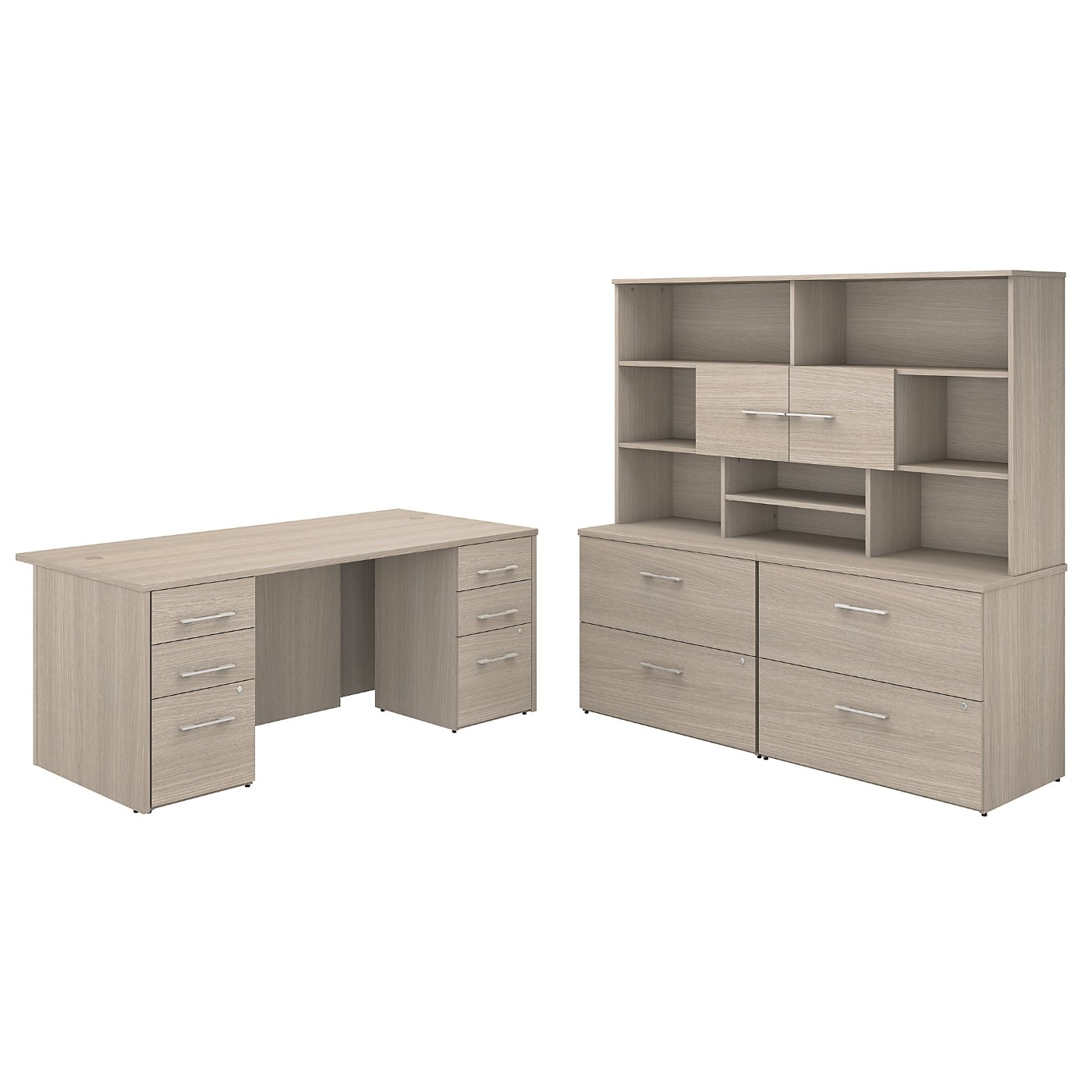 BUSH BUSINESS FURNITURE OFFICE 500 72W X 36D EXECUTIVE DESK WITH DRAWERS, LATERAL FILE CABINETS AND HUTCH. FREE SHIPPING