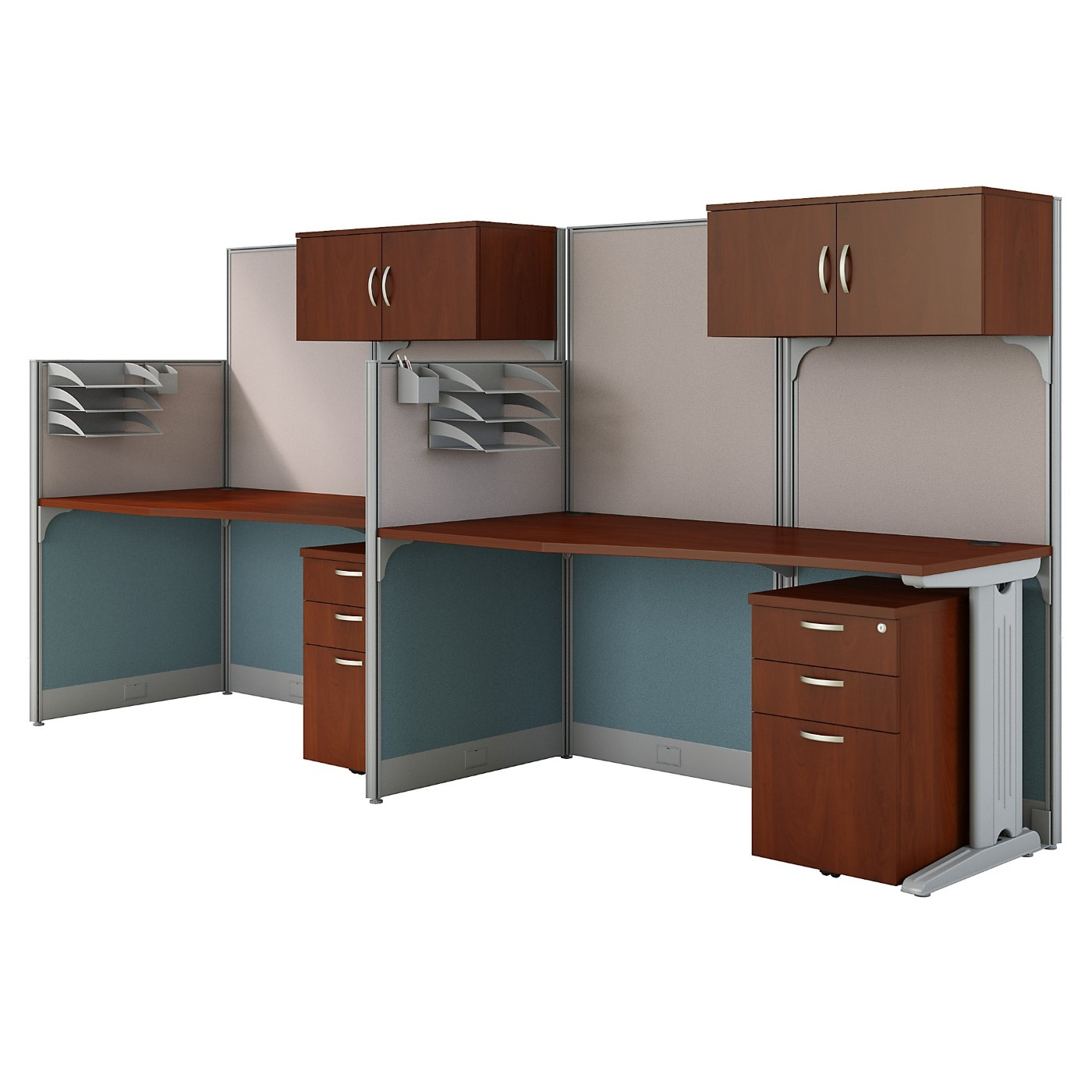 BUSH BUSINESS FURNITURE OFFICE IN AN HOUR 2 PERSON CUBICLE WORKSTATIONS. FREE SHIPPING
