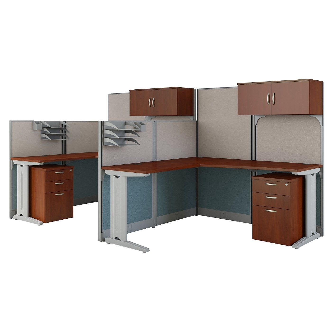 BUSH BUSINESS FURNITURE OFFICE IN AN HOUR 2 PERSON L SHAPED CUBICLE WORKSTATIONS. FREE SHIPPING