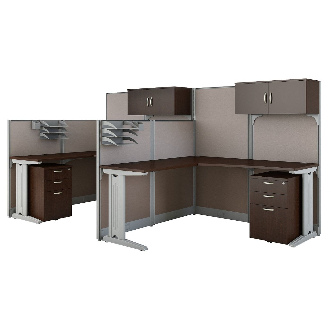 BUSH BUSINESS FURNITURE OFFICE IN AN HOUR 2 PERSON L SHAPED CUBICLE WORKSTATIONS. FREE SHIPPING SALE DEDUCT 10% MORE ENTER '10percent' IN COUPON CODE BOX WHILE CHECKING OUT. ENDS 5-31-20.