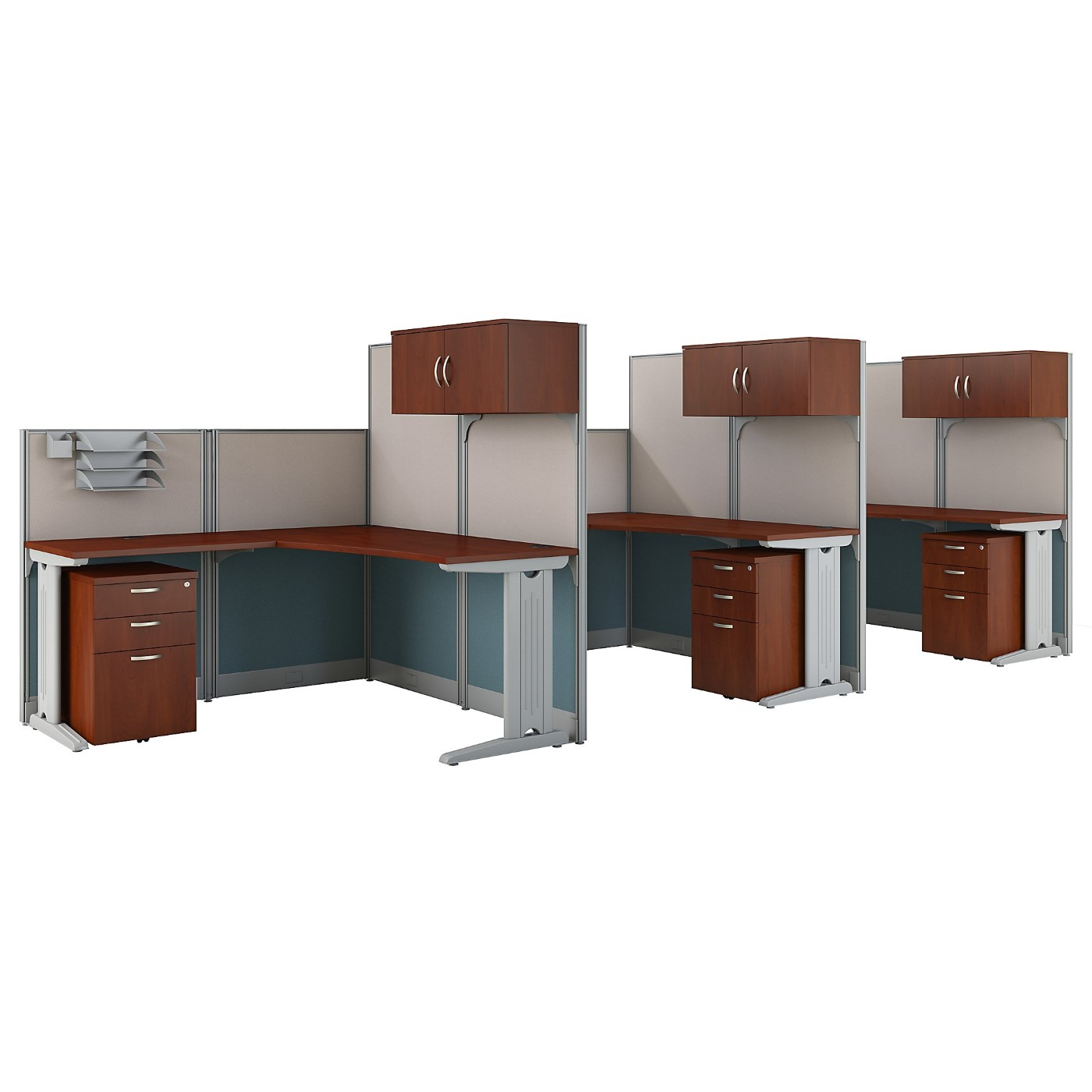 BUSH BUSINESS FURNITURE OFFICE IN AN HOUR 3 PERSON L SHAPED CUBICLE WORKSTATIONS. FREE SHIPPING SALE DEDUCT 10% MORE ENTER '10percent' IN COUPON CODE BOX WHILE CHECKING OUT. ENDS 5-31-20.