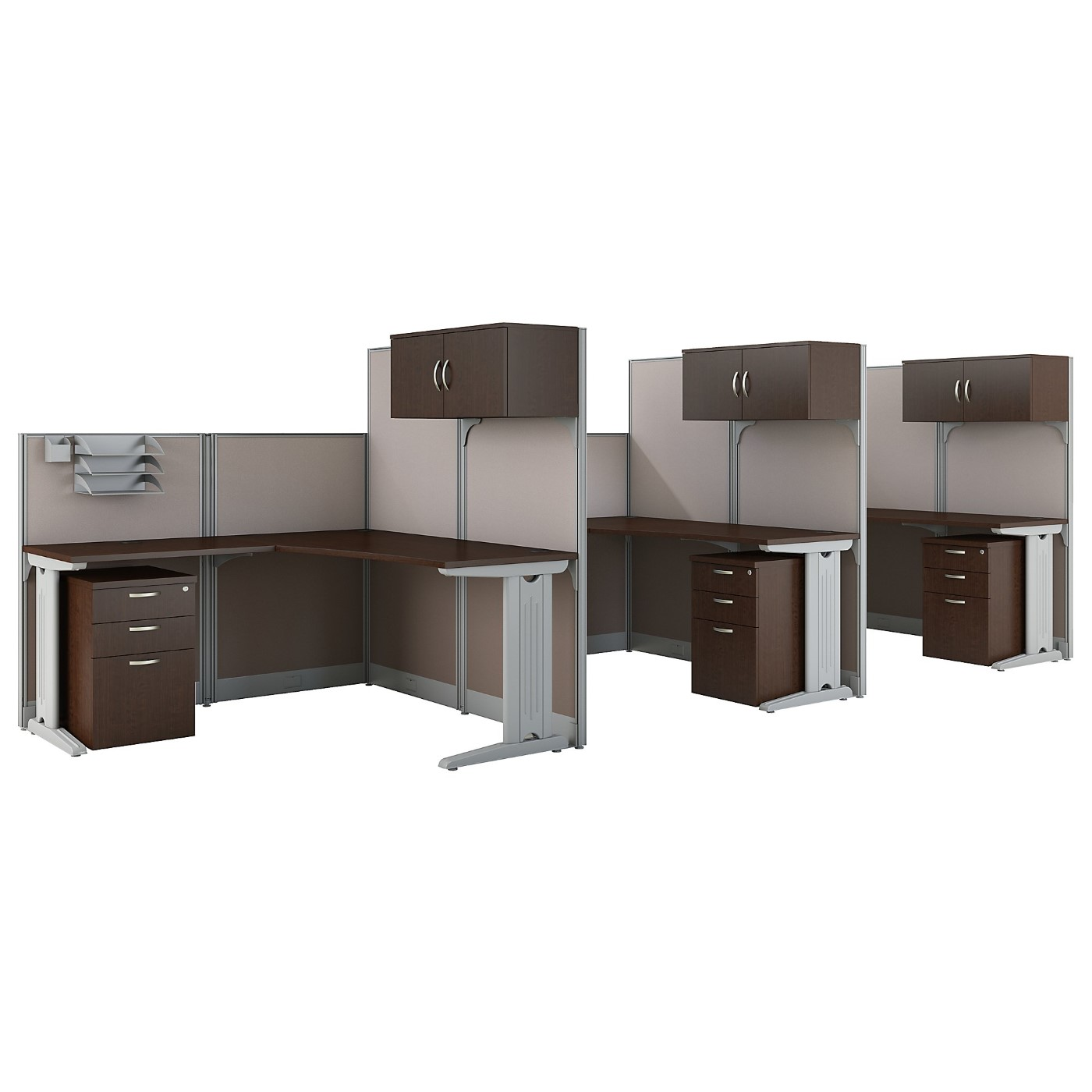 BUSH BUSINESS FURNITURE OFFICE IN AN HOUR 3 PERSON L SHAPED CUBICLE WORKSTATIONS. FREE SHIPPING