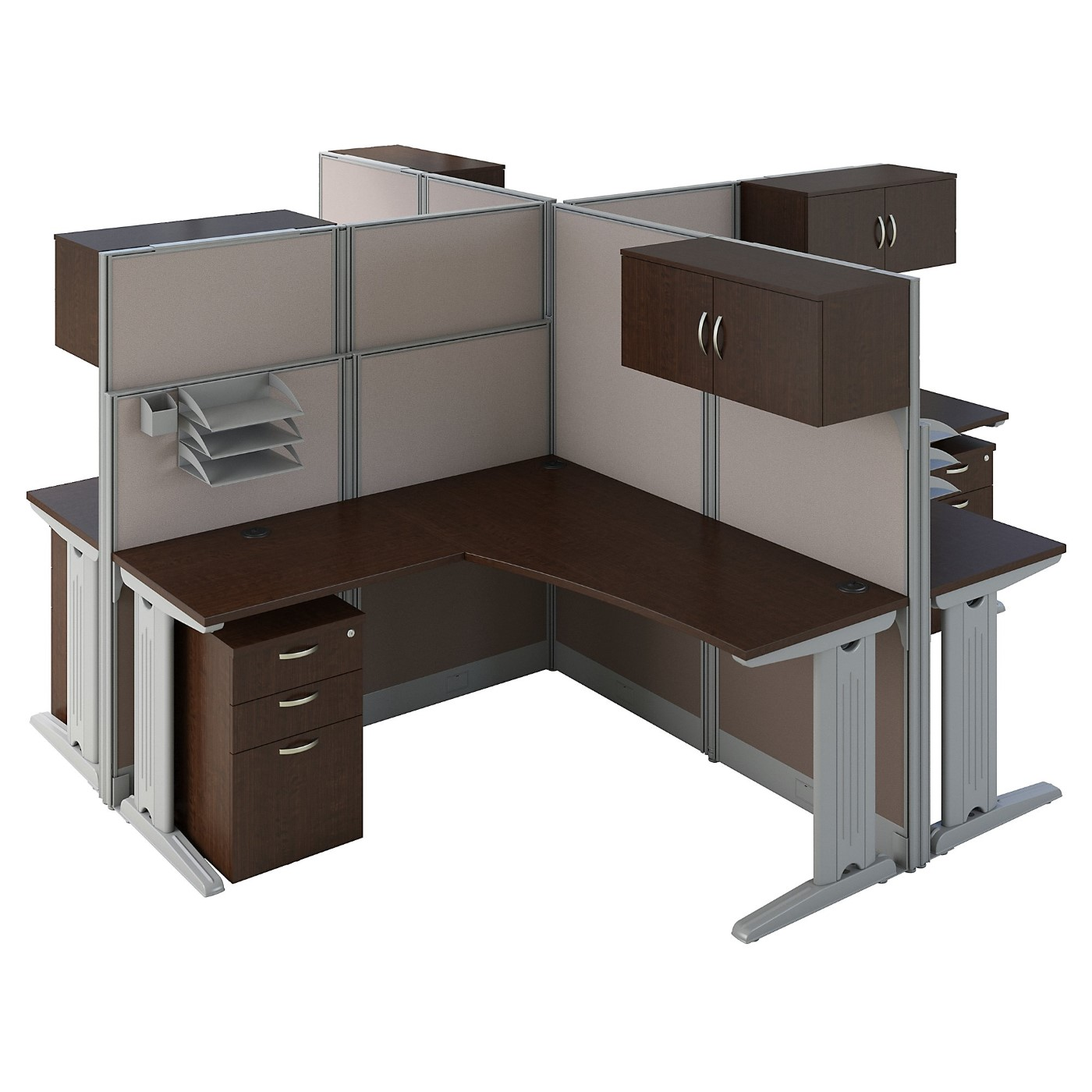BUSH BUSINESS FURNITURE OFFICE IN AN HOUR 4 PERSON L SHAPED CUBICLE WORKSTATIONS. FREE SHIPPING SALE DEDUCT 10% MORE ENTER '10percent' IN COUPON CODE BOX WHILE CHECKING OUT. ENDS 5-31-20.