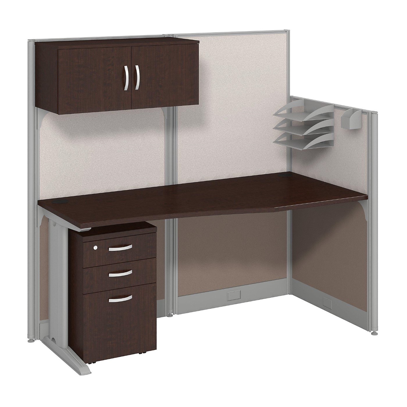 BUSH BUSINESS FURNITURE OFFICE IN AN HOUR 65W X 33D CUBICLE WORKSTATION WITH STORAGE. FREE SHIPPING.