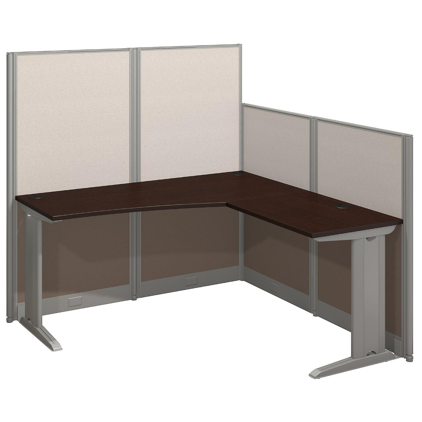BUSH BUSINESS FURNITURE OFFICE IN AN HOUR 65W X 65D L SHAPED CUBICLE WORKSTATION. FREE SHIPPING.