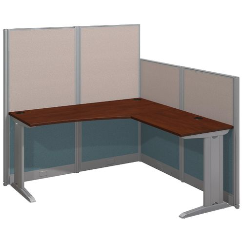 BUSH BUSINESS FURNITURE OFFICE IN AN HOUR 65W X 65D L SHAPED CUBICLE WORKSTATION. FREE SHIPPING.  SALE DEDUCT 10% MORE ENTER '10percent' IN COUPON CODE BOX WHILE CHECKING OUT.