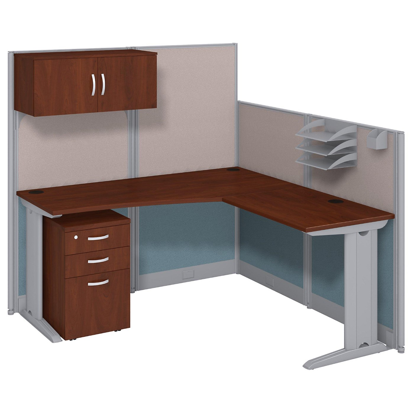 BUSH BUSINESS FURNITURE OFFICE IN AN HOUR 65W X 65D L SHAPED CUBICLE WORKSTATION WITH STORAGE. FREE SHIPPING.