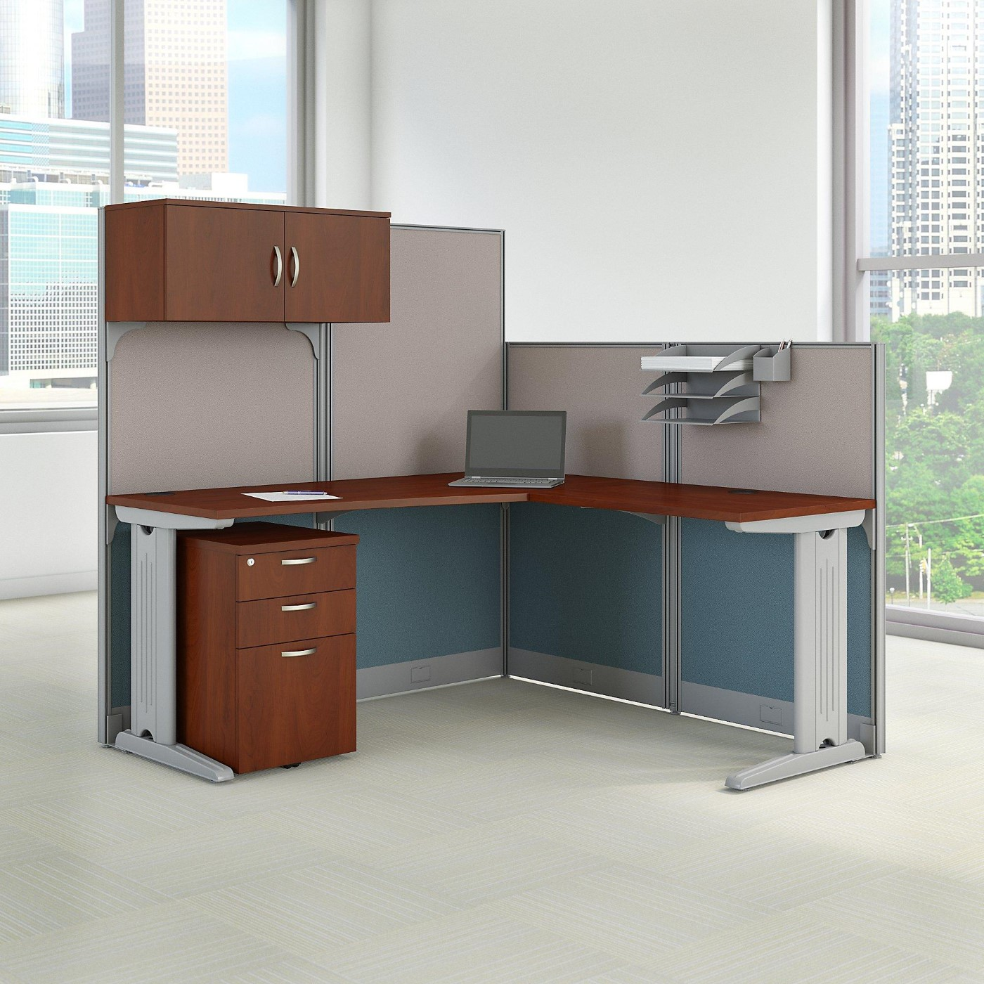 Office Furniture Free Shipping: BBF L Shaped Cubicle Workstation With Storage