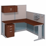 <font color=#c60><b>BUSH BUSINESS FURNITURE OFFICE IN AN HOUR 65W X 65D L SHAPED CUBICLE WORKSTATION WITH STORAGE. FREE SHIPPING</font></b>