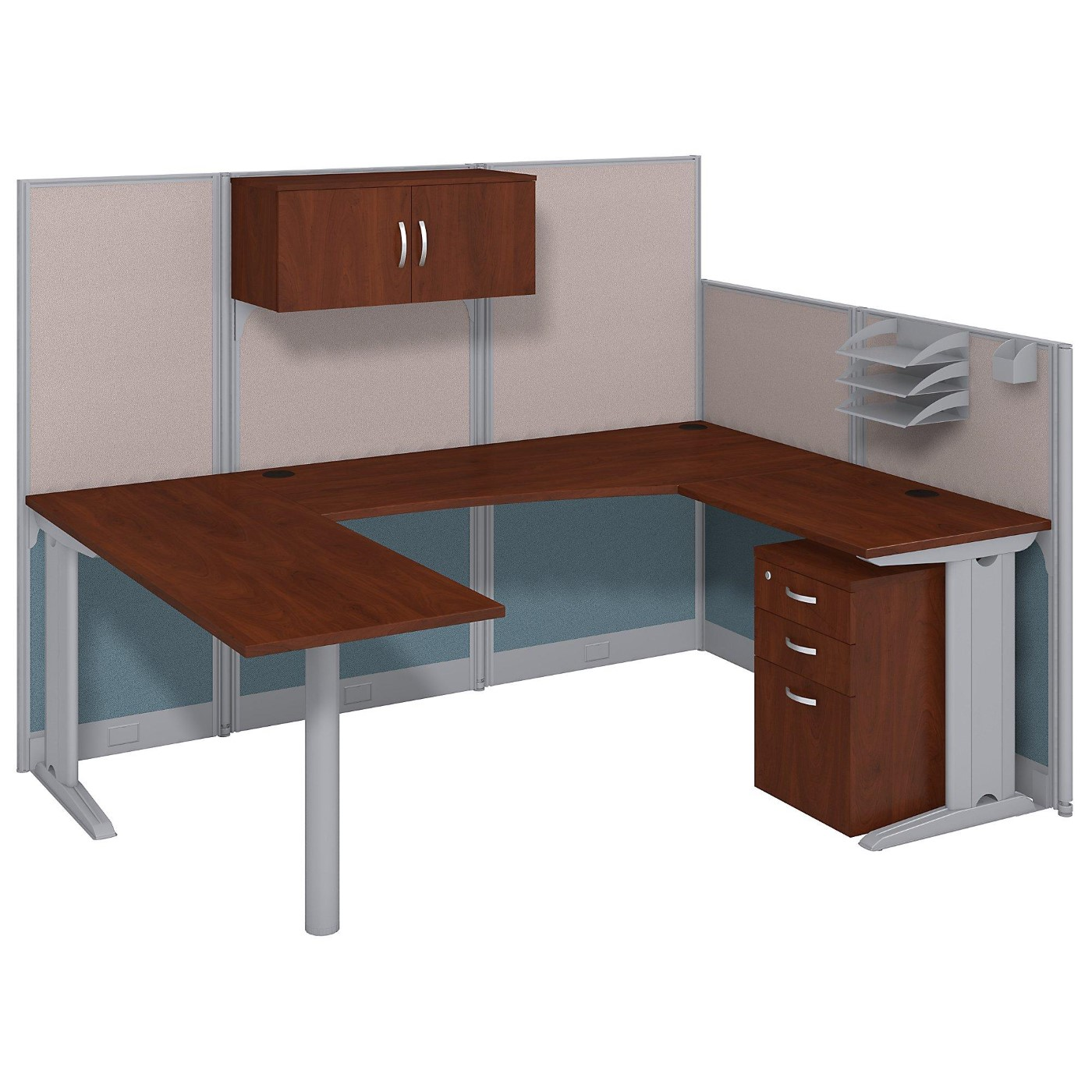 BUSH BUSINESS FURNITURE OFFICE IN AN HOUR 89W X 65D U SHAPED CUBICLE WORKSTATION WITH STORAGE. FREE SHIPPING.  SALE DEDUCT 10% MORE ENTER '10percent' IN COUPON CODE BOX WHILE CHECKING OUT. ENDS 5-31-20.