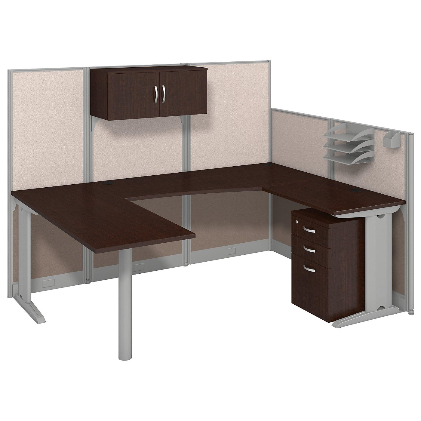 BUSH BUSINESS FURNITURE OFFICE IN AN HOUR 89W X 65D U SHAPED CUBICLE WORKSTATION WITH STORAGE. FREE SHIPPING.