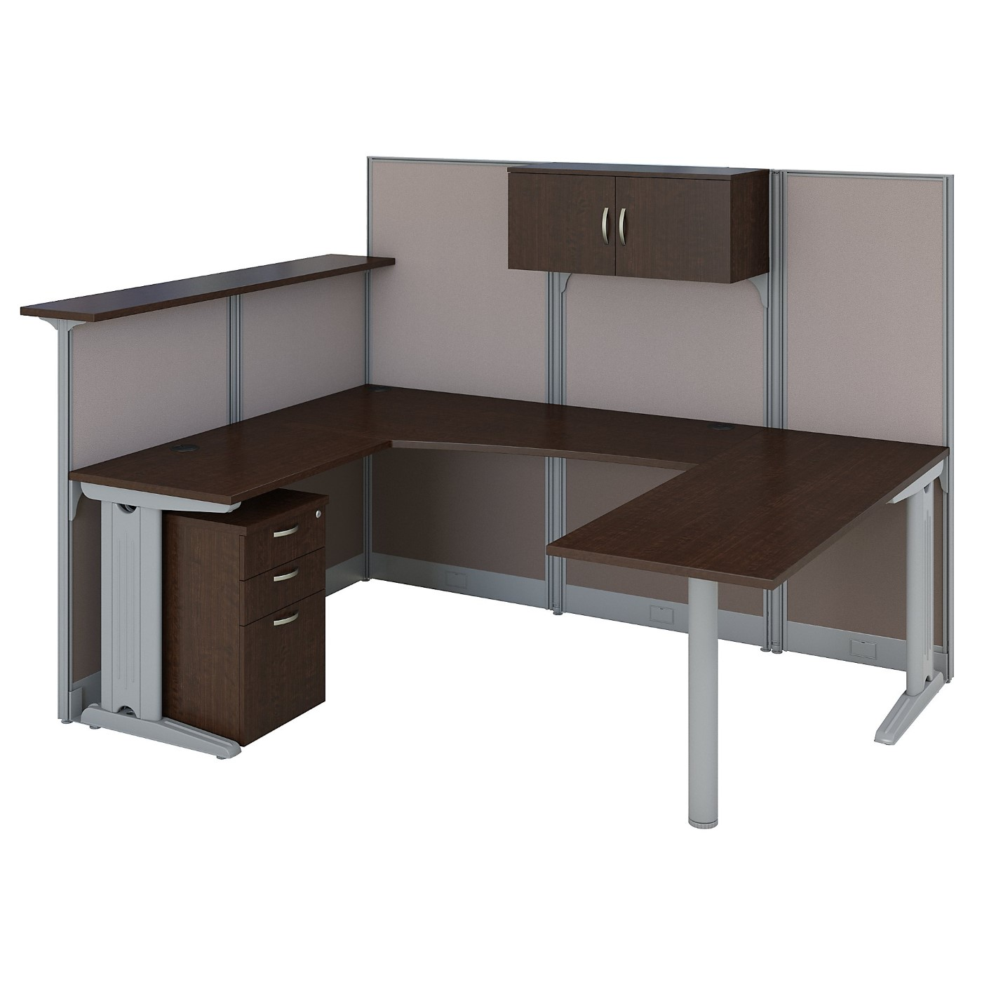 BUSH BUSINESS FURNITURE OFFICE IN AN HOUR U SHAPED RECEPTION DESK WITH STORAGE. FREE SHIPPING SALE DEDUCT 10% MORE ENTER '10percent' IN COUPON CODE BOX WHILE CHECKING OUT.