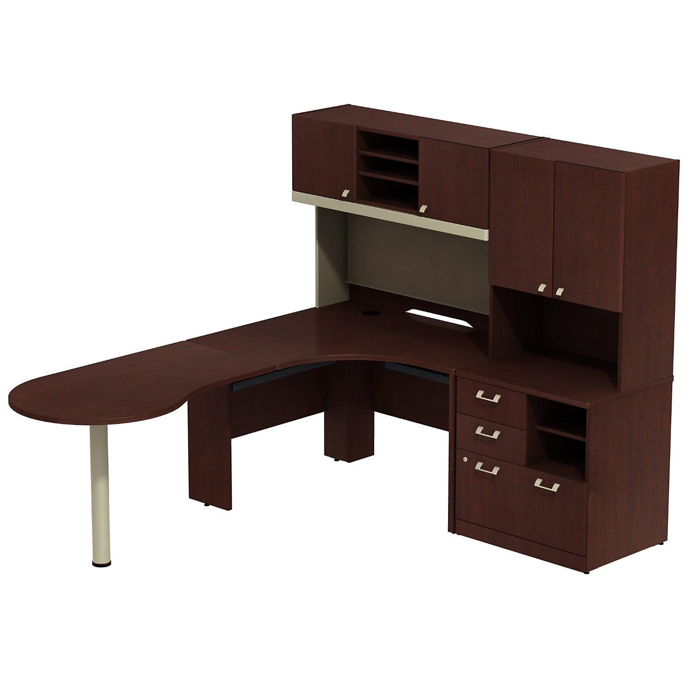 <font color=#c60><b>BUSH BUSINESS FURNITURE QUANTUM RIGHT HANDED PENINSULA L SHAPED DESK WITH 48W HUTCH AND 30W STORAGE CABINET WITH 30W HUTCH. FREE SHIPPING</font></b>