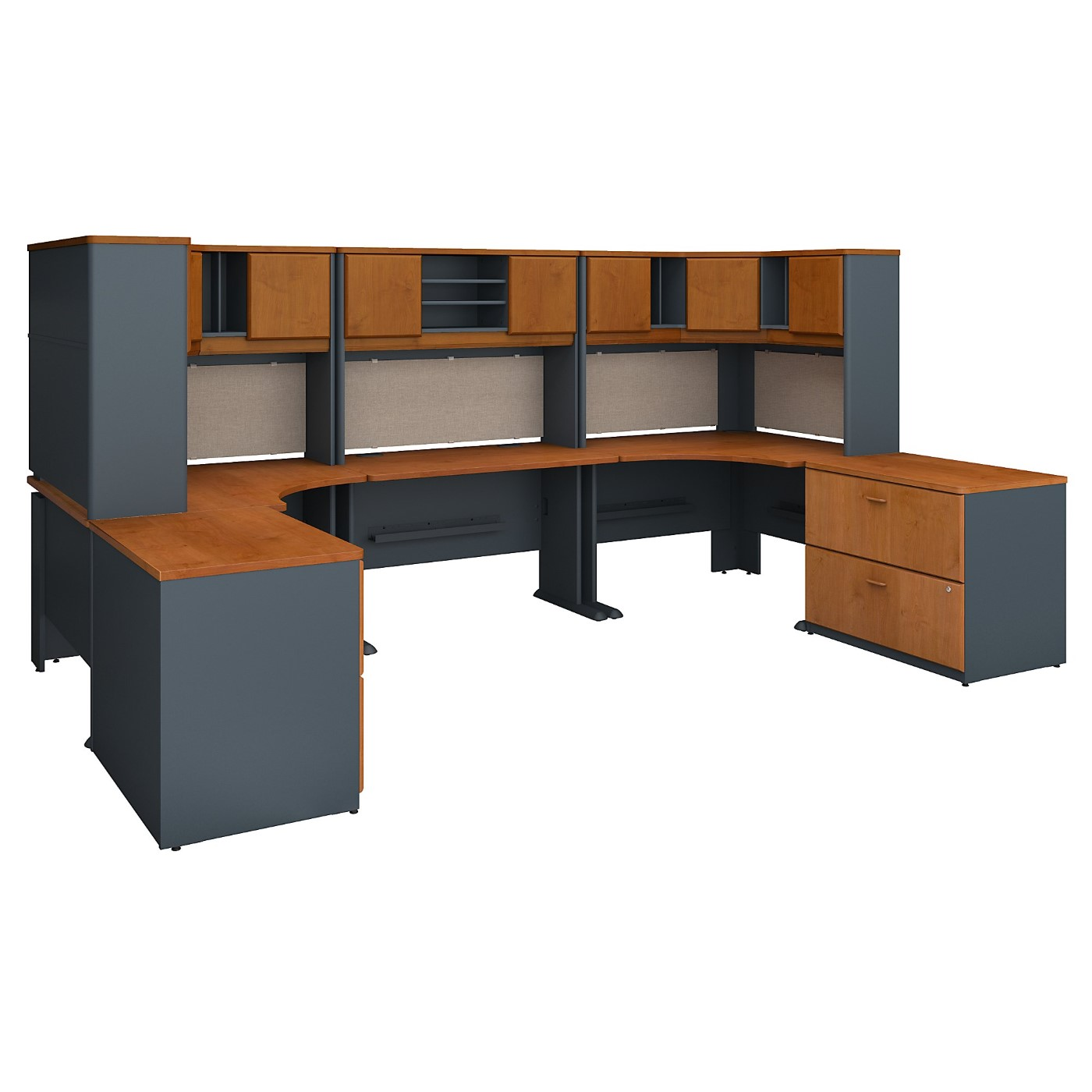 BUSH BUSINESS FURNITURE SERIES A 2 PERSON WORKSTATION WITH CORNER DESKS, HUTCHES AND STORAGE. FREE SHIPPING