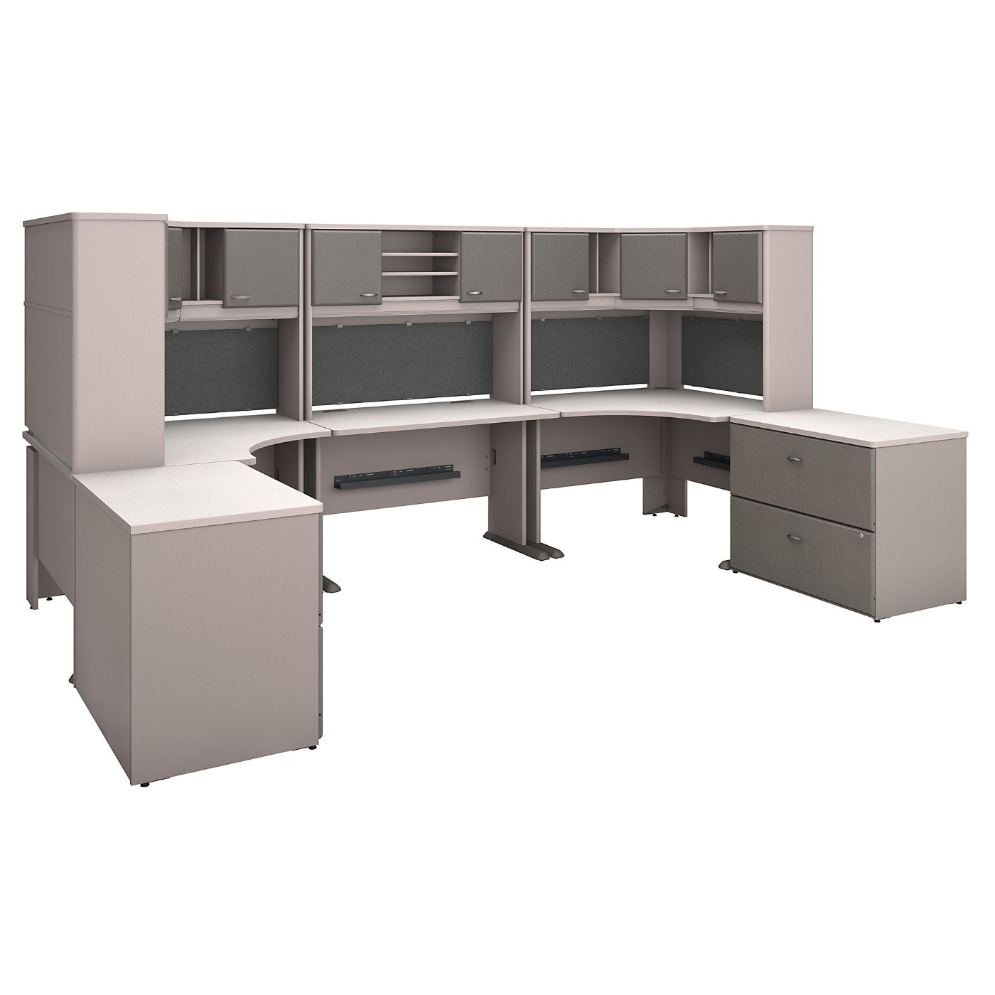 BUSH BUSINESS FURNITURE SERIES A 2 PERSON WORKSTATION WITH CORNER DESKS, HUTCHES AND STORAGE. FREE SHIPPING SALE DEDUCT 10% MORE ENTER '10percent' IN COUPON CODE BOX WHILE CHECKING OUT.