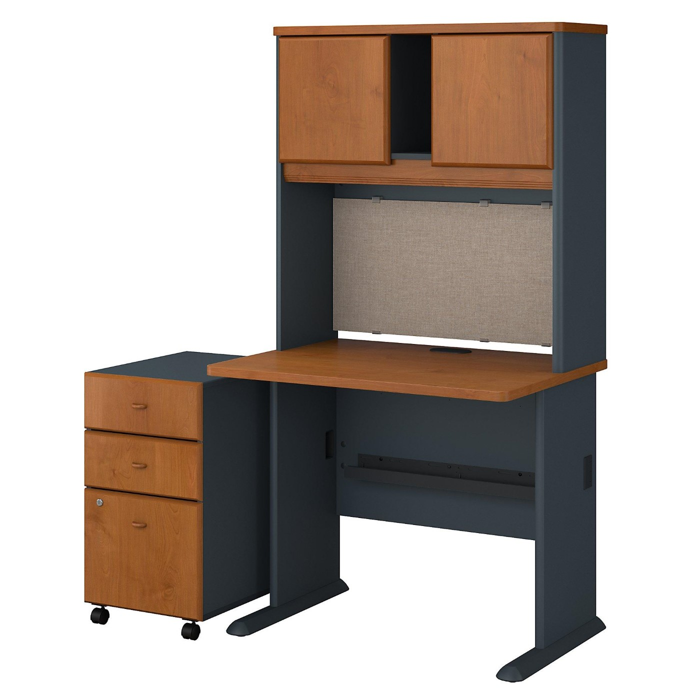 BUSH BUSINESS FURNITURE SERIES A 36W DESK WITH HUTCH AND MOBILE FILE CABINET. FREE SHIPPING.  SALE DEDUCT 10% MORE ENTER '10percent' IN COUPON CODE BOX WHILE CHECKING OUT.