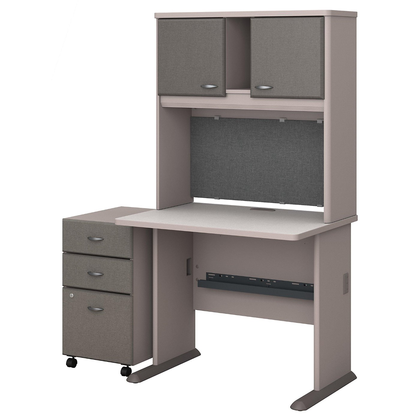 BUSH BUSINESS FURNITURE SERIES A 36W DESK WITH HUTCH AND MOBILE FILE CABINET. FREE SHIPPING.