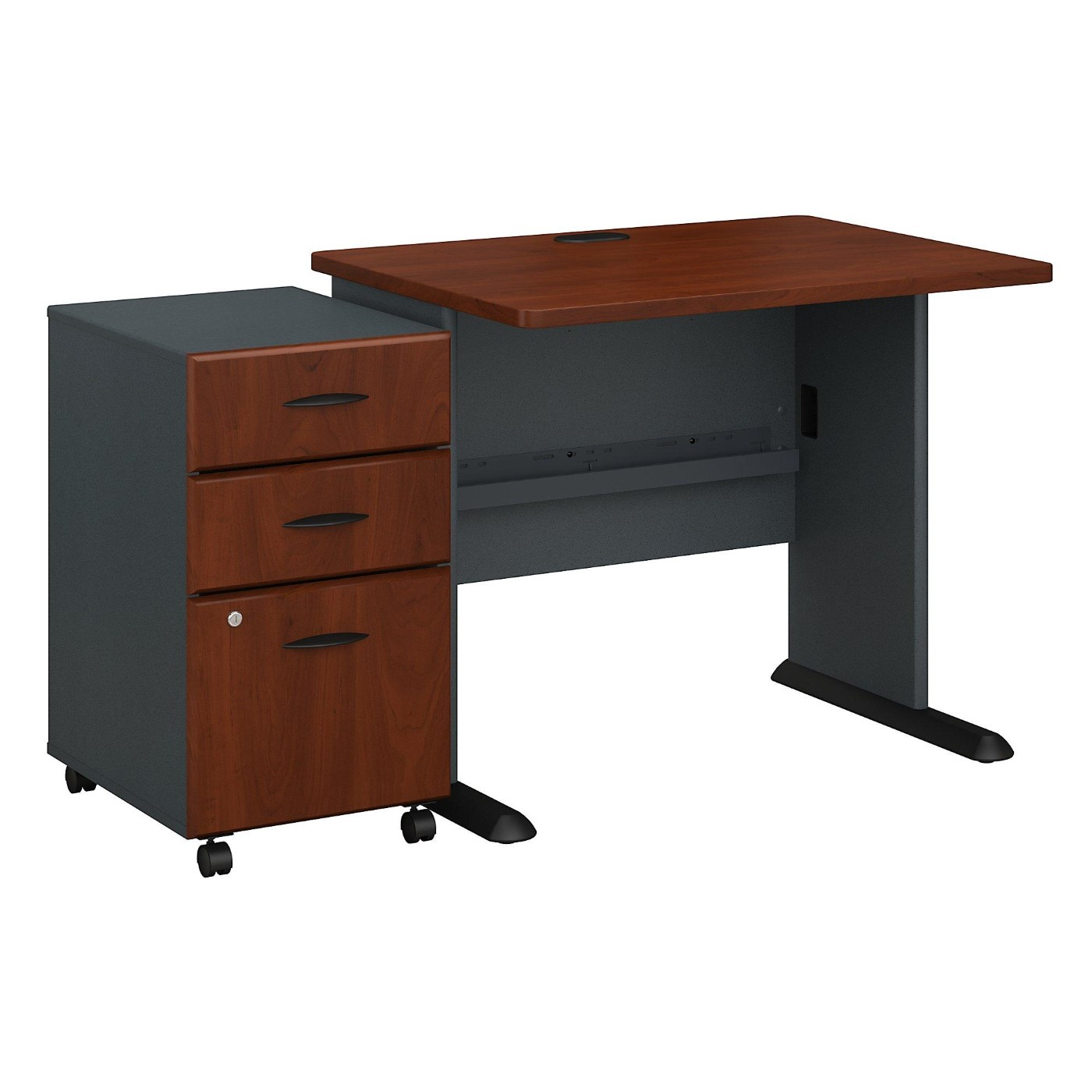 BUSH BUSINESS FURNITURE SERIES A 36W DESK WITH MOBILE FILE CABINET. FREE SHIPPING.