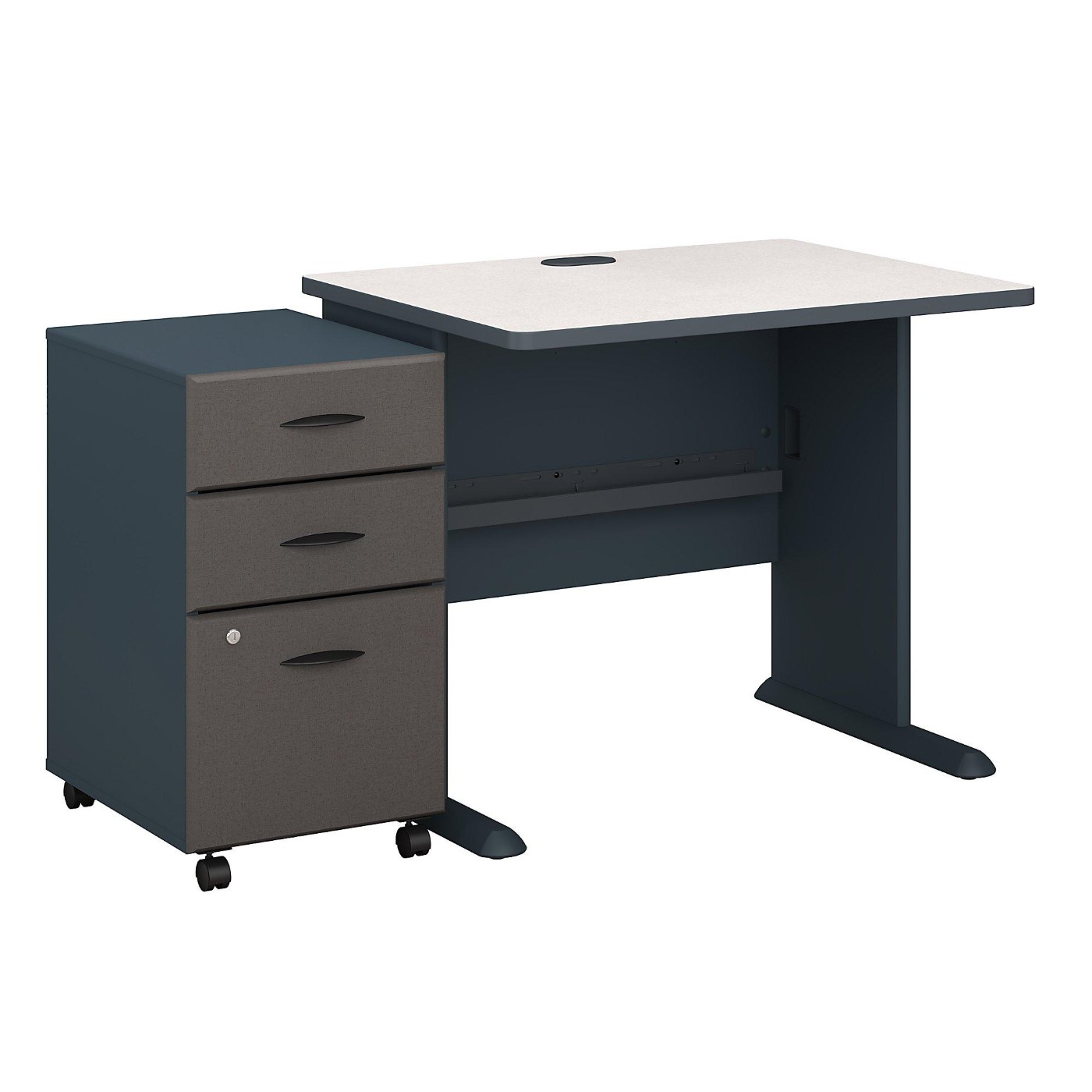 BUSH BUSINESS FURNITURE SERIES A 36W DESK WITH MOBILE FILE CABINET. FREE SHIPPING.  SALE DEDUCT 10% MORE ENTER '10percent' IN COUPON CODE BOX WHILE CHECKING OUT.
