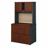 BUSH BUSINESS FURNITURE SERIES A 36W LATERAL FILE CABINET WITH HUTCH. FREE SHIPPING  VIDEO BELOW.