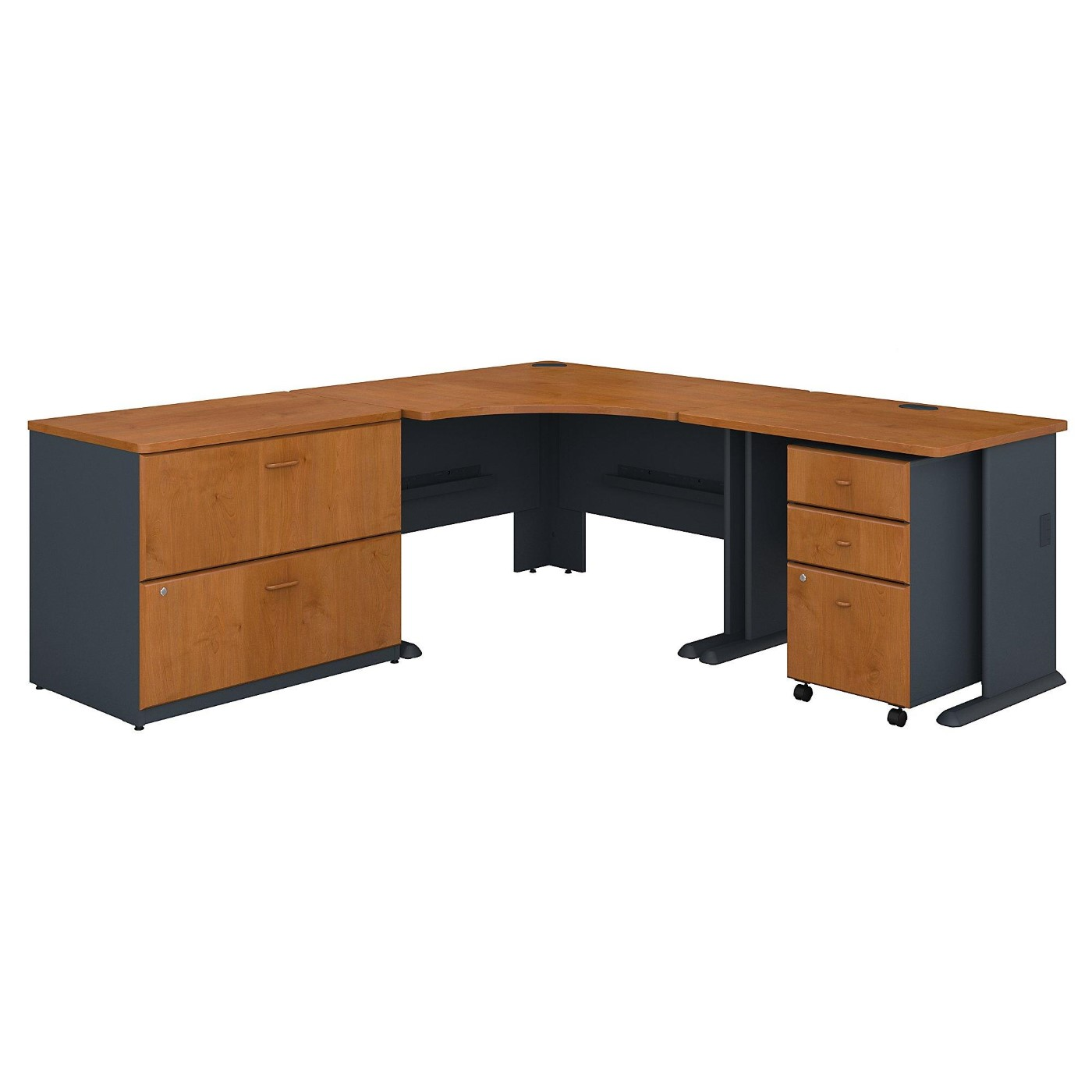 BUSH BUSINESS FURNITURE SERIES A 48W CORNER DESK WITH 36W RETURN AND FILE CABINETS. FREE SHIPPING.  SALE DEDUCT 10% MORE ENTER '10percent' IN COUPON CODE BOX WHILE CHECKING OUT.