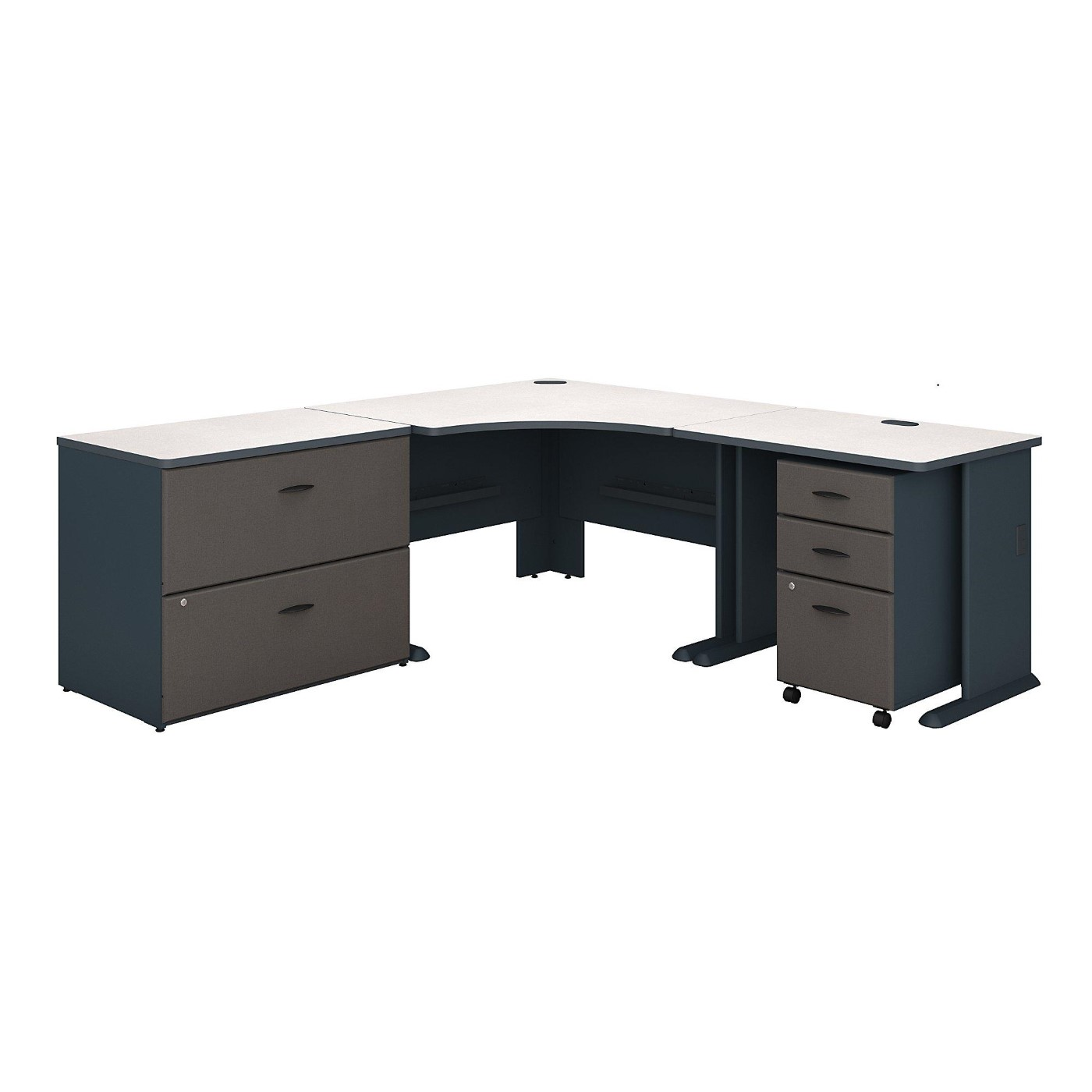 <font color=#c60><b>BUSH BUSINESS FURNITURE SERIES A 48W CORNER DESK WITH 36W RETURN AND FILE CABINETS. FREE SHIPPING</font></b></font>