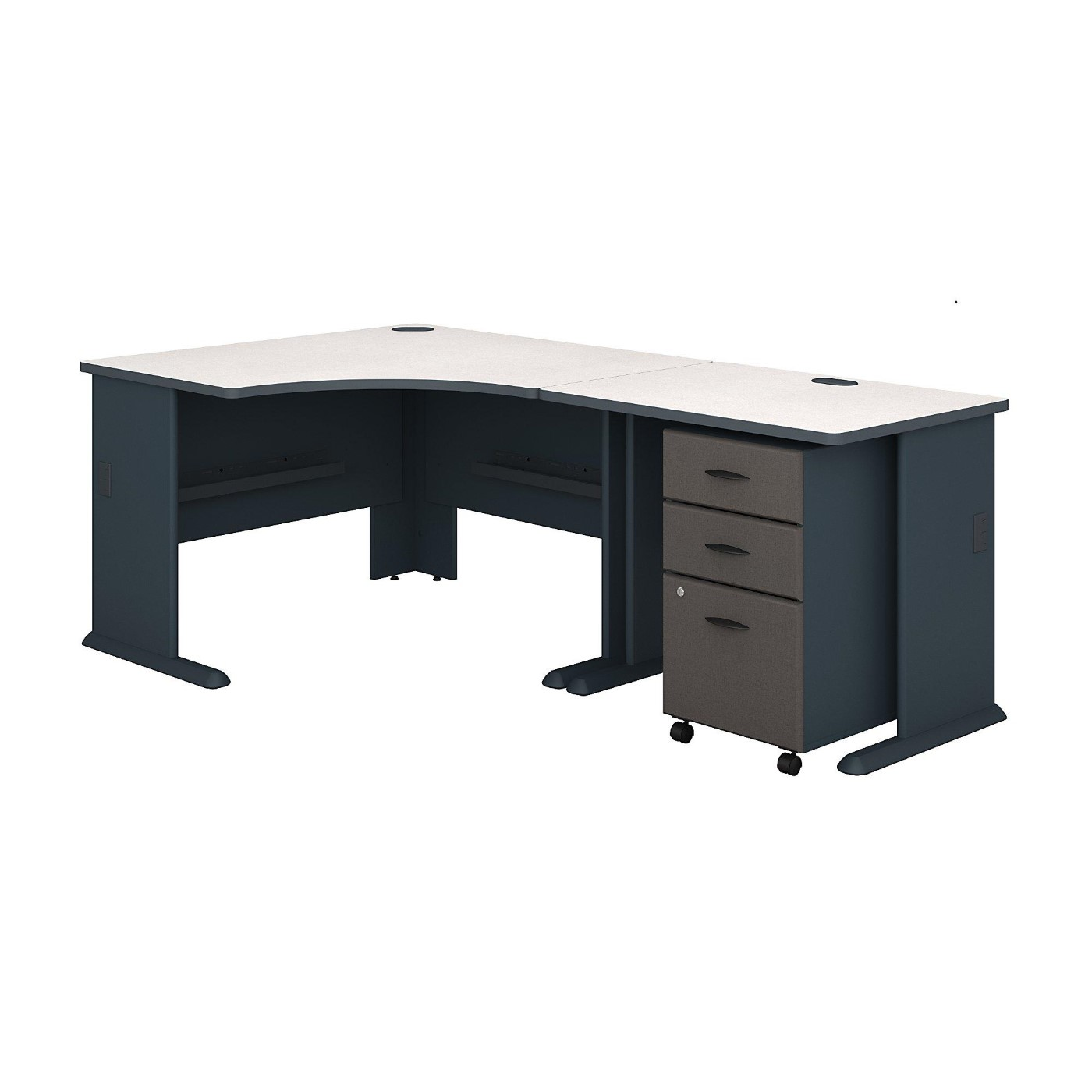 BUSH BUSINESS FURNITURE SERIES A 48W CORNER DESK WITH 36W RETURN AND MOBILE FILE CABINET. FREE SHIPPING.