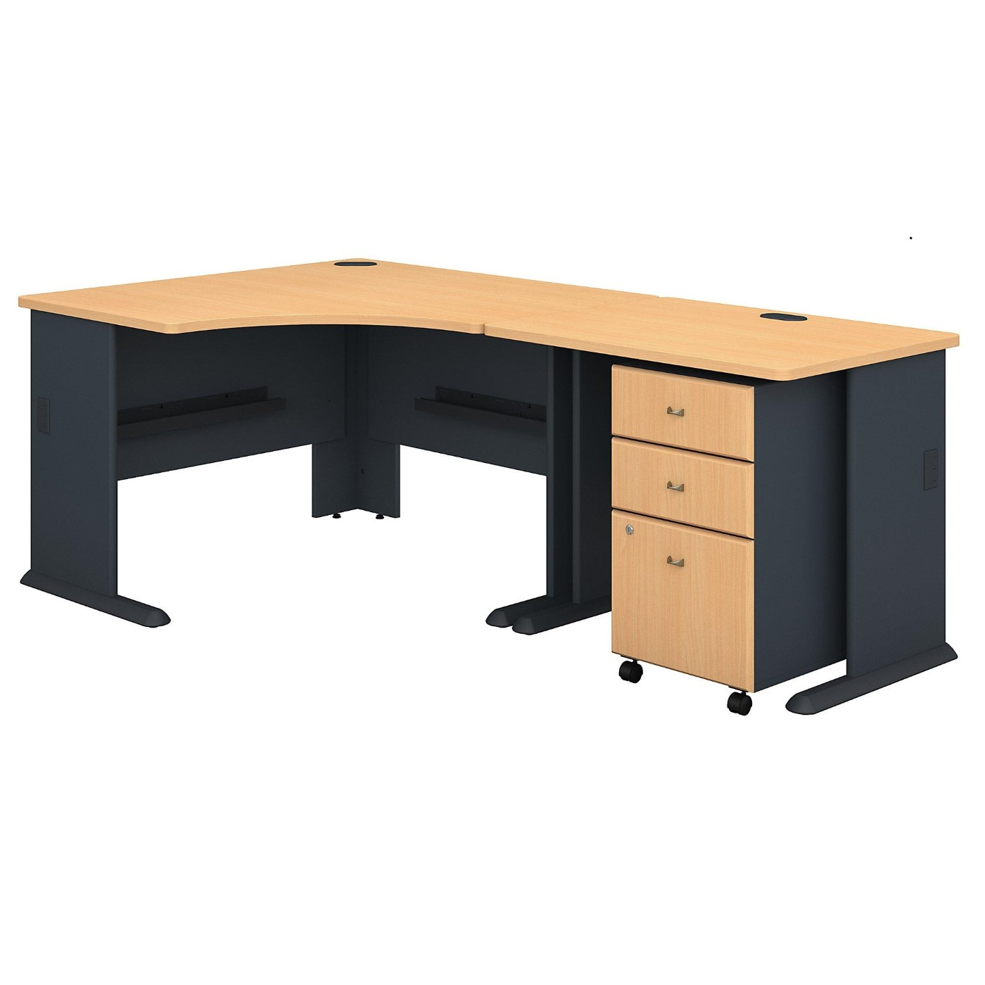 BUSH OFFICE FURNITURE SERIES A 48W CORNER DESK W/36W RETURN W/MOBILE FILE CABINET. SUSTAINABLE FURNITURE #EH-SRA005BESU. FREE SHIPPING