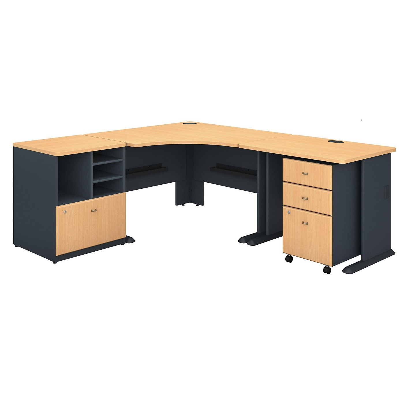 BUSH BUSINESS FURNITURE SERIES A 48W CORNER DESK WITH 36W RETURN AND STORAGE. FREE SHIPPING.