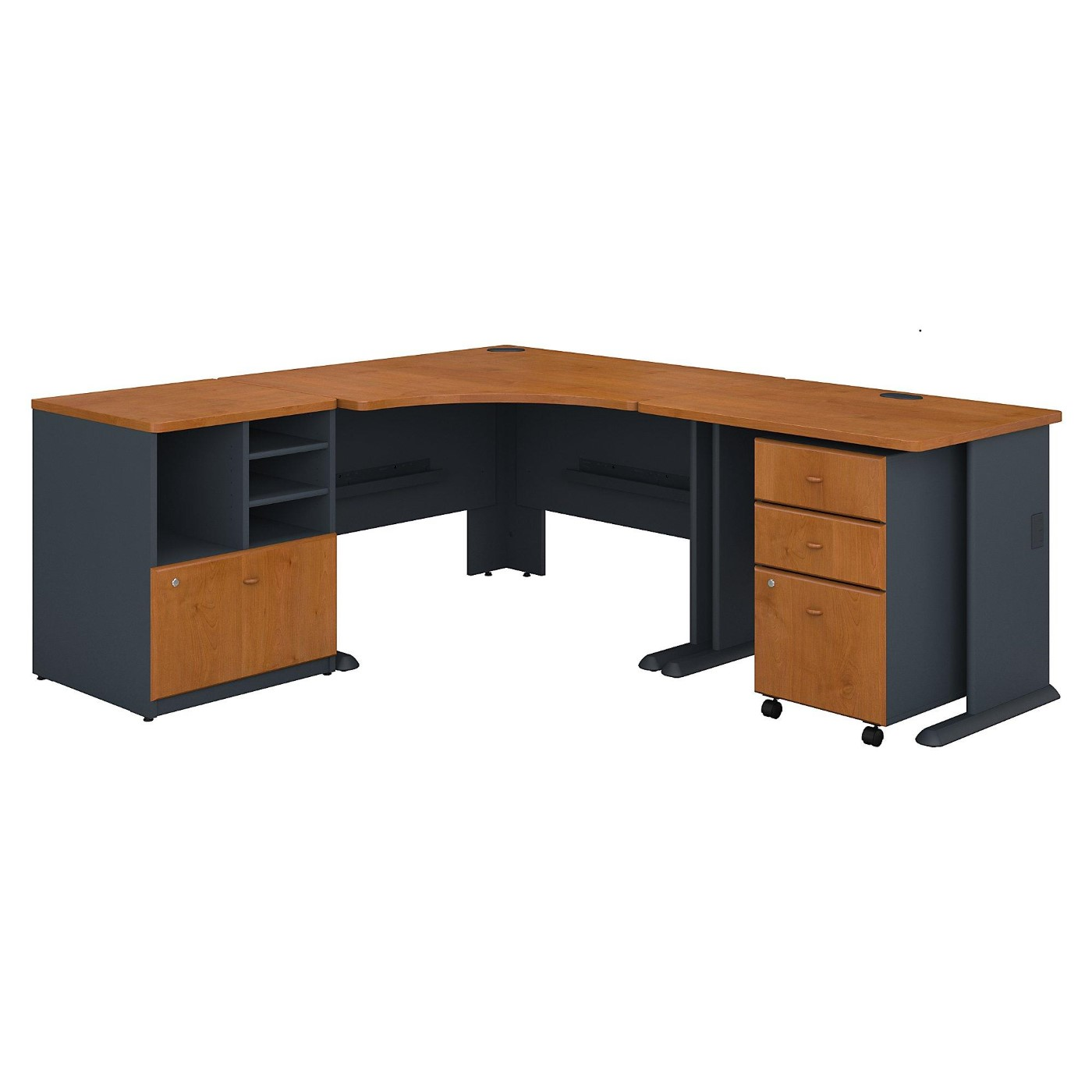 BUSH BUSINESS FURNITURE SERIES A 48W CORNER DESK WITH 36W RETURN AND STORAGE. FREE SHIPPING.  SALE DEDUCT 10% MORE ENTER '10percent' IN COUPON CODE BOX WHILE CHECKING OUT.
