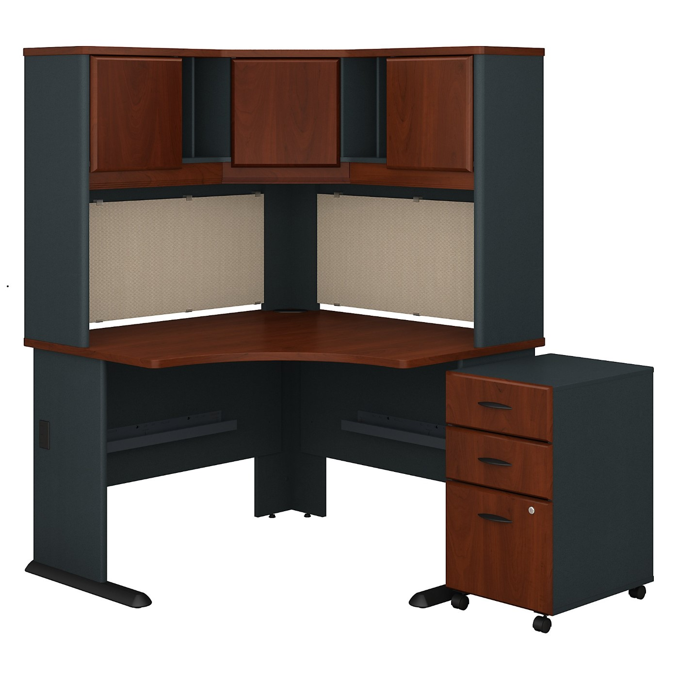 BUSH BUSINESS FURNITURE SERIES A 48W CORNER DESK WITH HUTCH AND MOBILE FILE CABINET. FREE SHIPPING