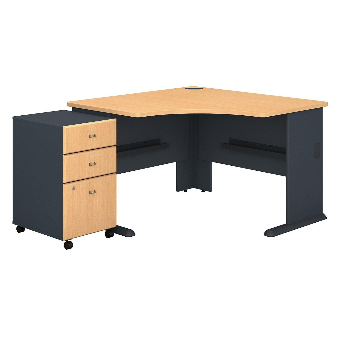 <font color=#c60><b>BUSH BUSINESS FURNITURE SERIES A 48W CORNER DESK WITH MOBILE FILE CABINET EH-SRA035BESU. FREE SHIPPING</font></b>