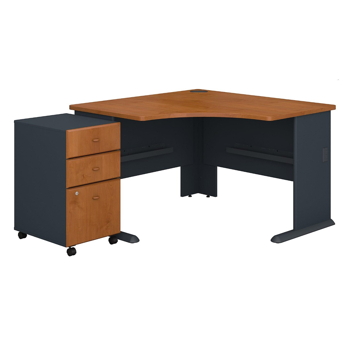 BUSH BUSINESS FURNITURE SERIES A 48W CORNER DESK WITH MOBILE FILE CABINET. FREE SHIPPING.