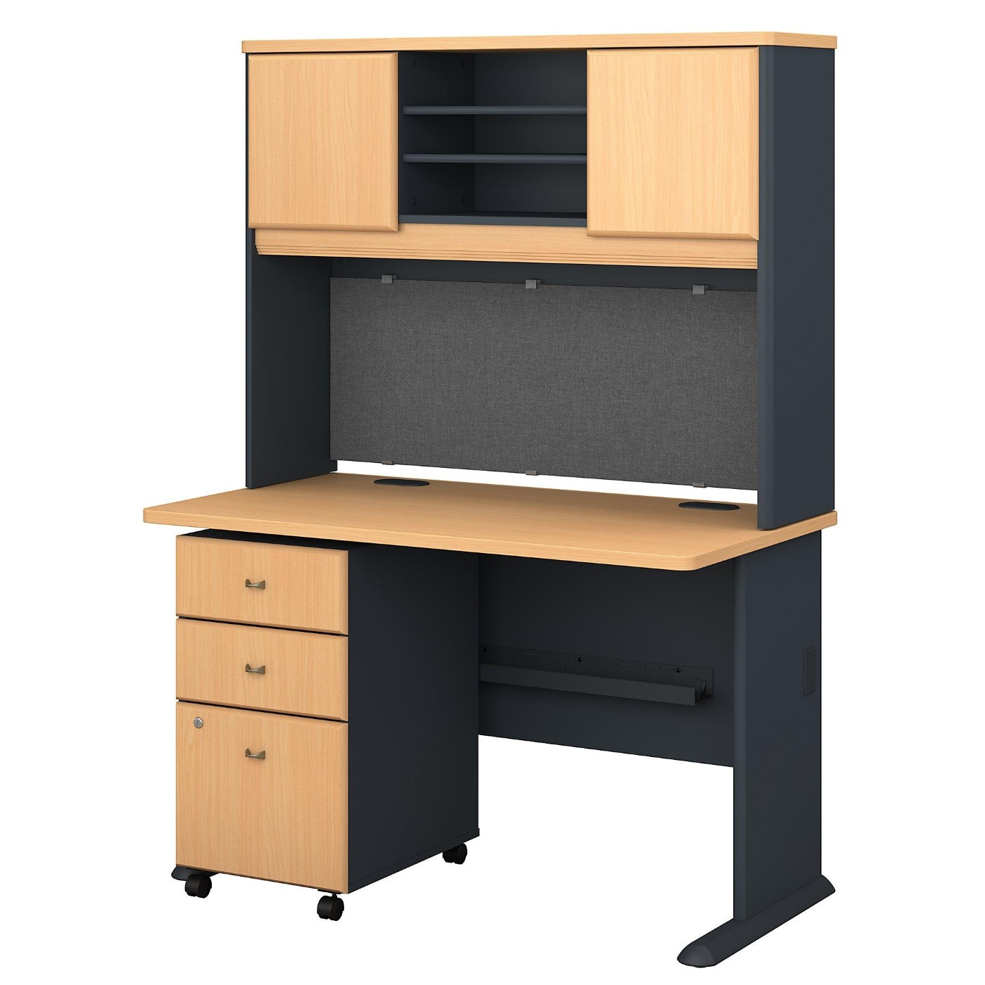 BUSH BUSINESS FURNITURE SERIES A 48W DESK WITH HUTCH AND MOBILE FILE CABINET. FREE SHIPPING.  SALE DEDUCT 10% MORE ENTER '10percent' IN COUPON CODE BOX WHILE CHECKING OUT.