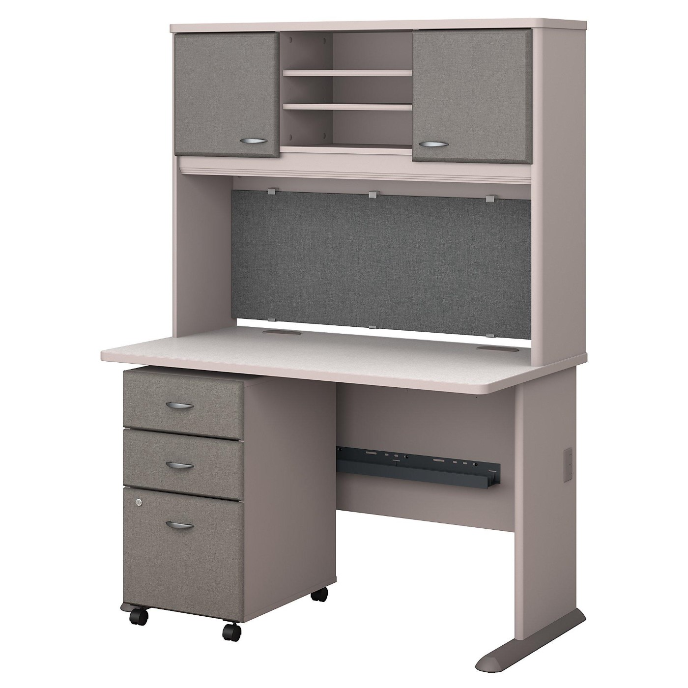 BUSH BUSINESS FURNITURE SERIES A 48W DESK WITH HUTCH AND MOBILE FILE CABINET. FREE SHIPPING.