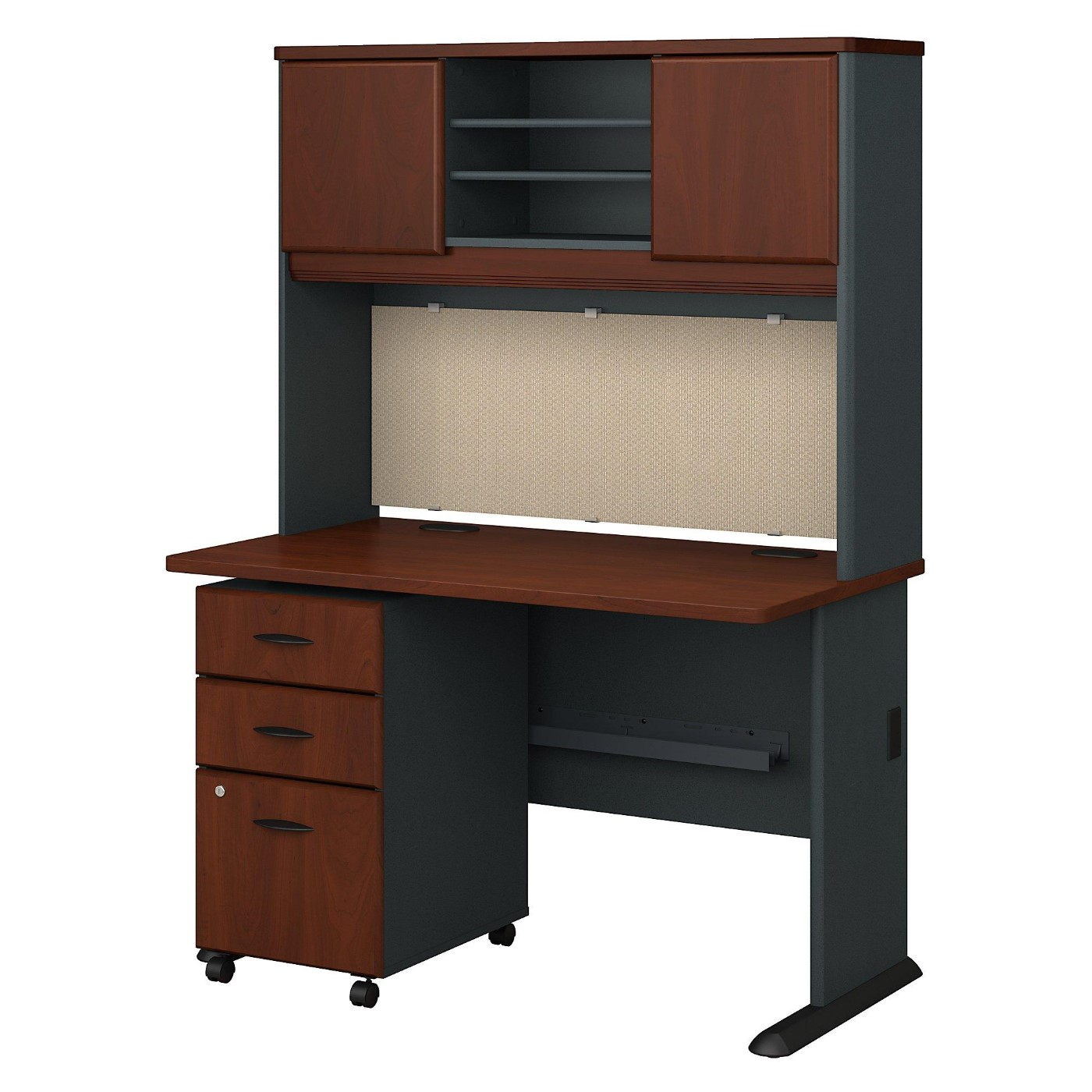 BUSH BUSINESS FURNITURE SERIES A 48W DESK WITH HUTCH AND MOBILE FILE CABINET #EH-SRA049HCSU. TAA COMPLIANT. FREE SHIPPING.