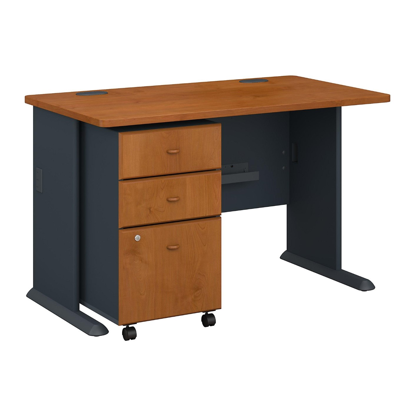 BUSH BUSINESS FURNITURE SERIES A 48W DESK WITH MOBILE FILE CABINET. FREE SHIPPING.
